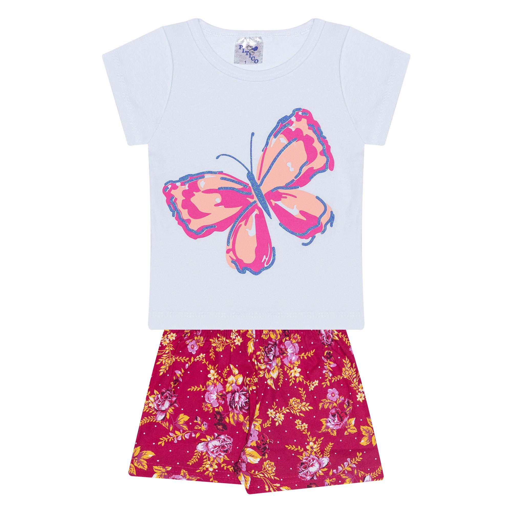 Conjunto Infantil Feminino - Ref 1018 - Branco/Pink - Pitico