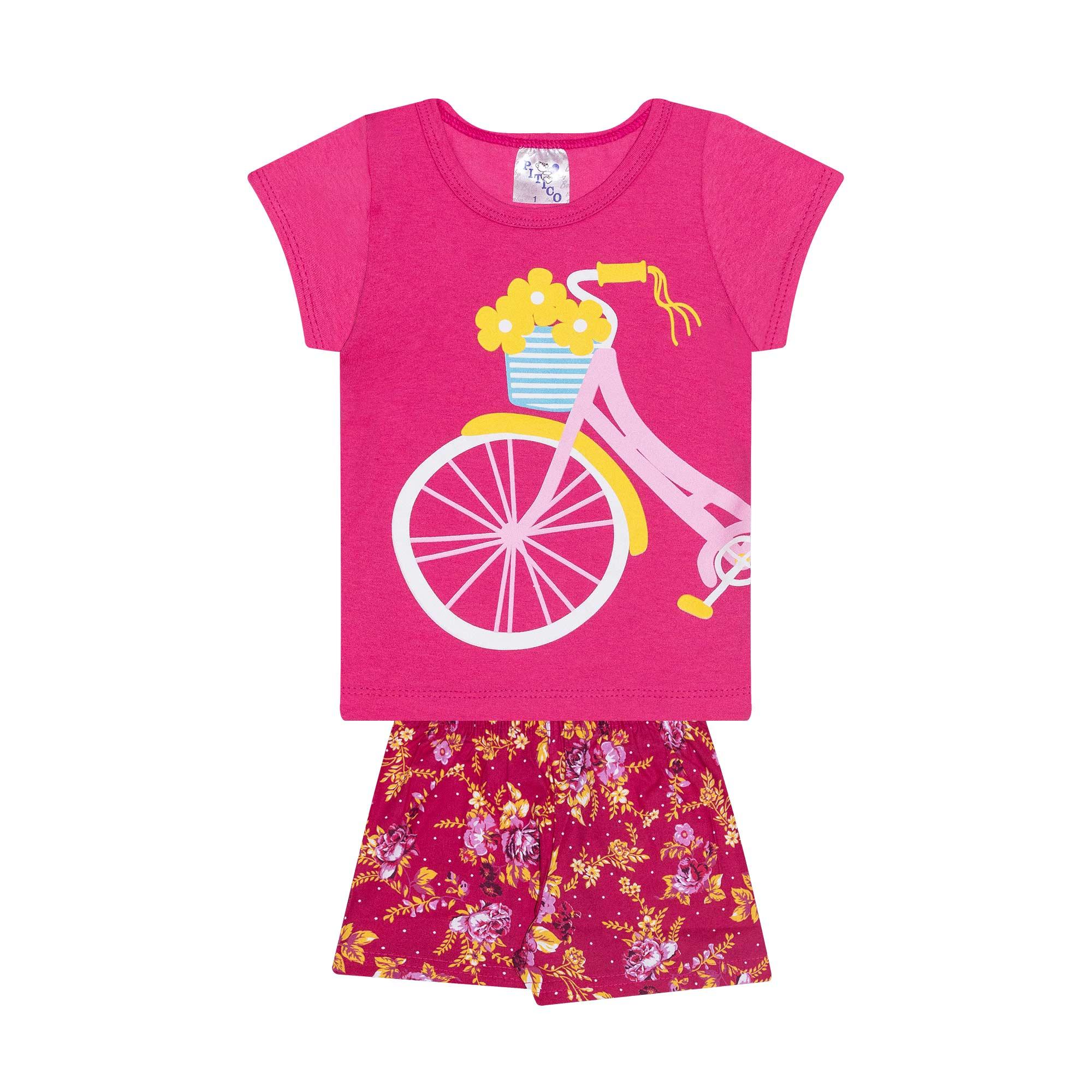 Conjunto Infantil Feminino - Ref 1019 - Rosa/Pink - Pitico