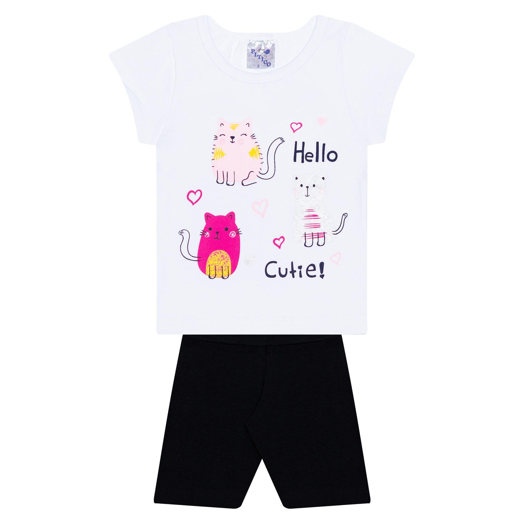 Conjunto Infantil Feminino - Ref 1023 - Branco/Preto - Pitico