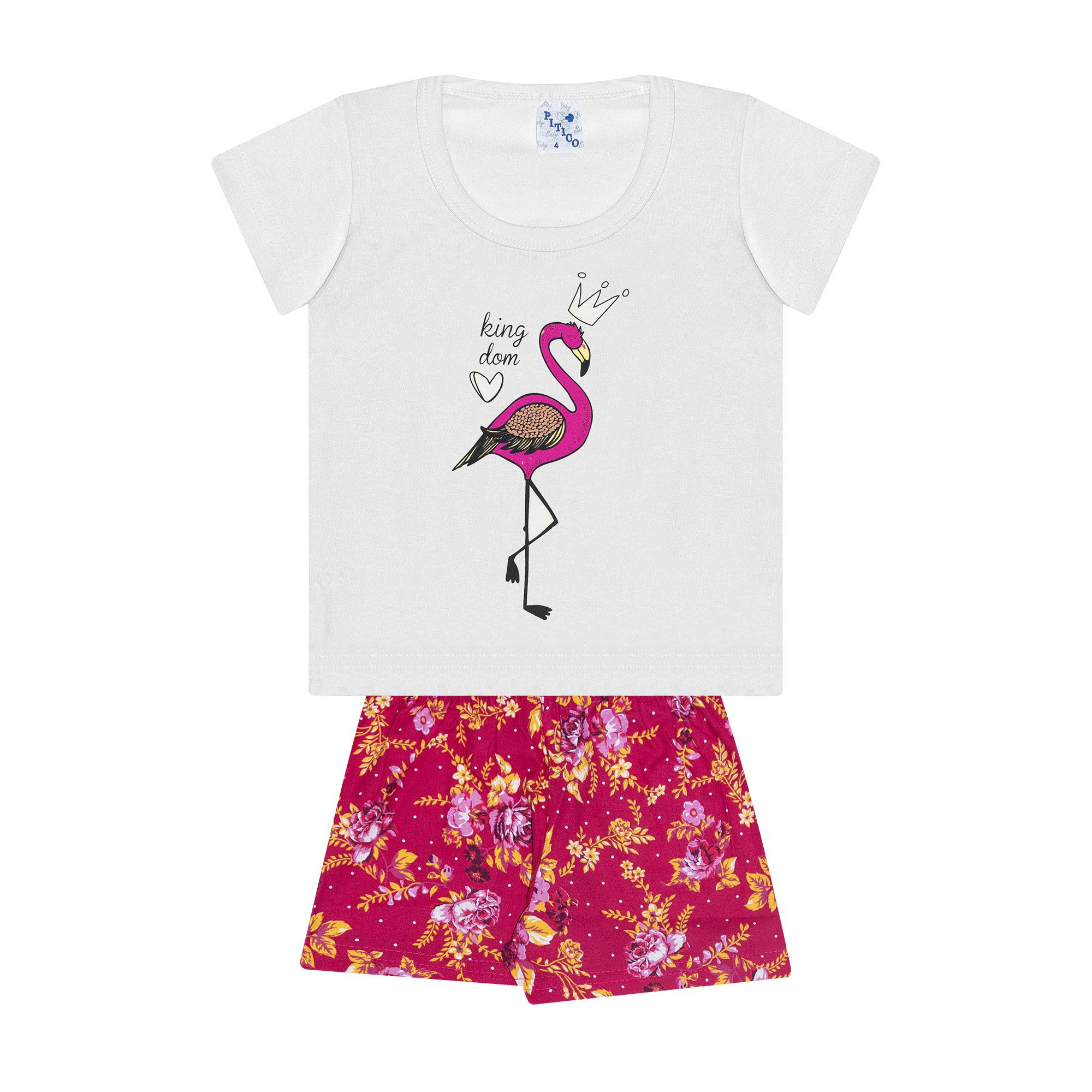 Conjunto Infantil Feminino - Ref 1025 - Branco/Pink - Pitico