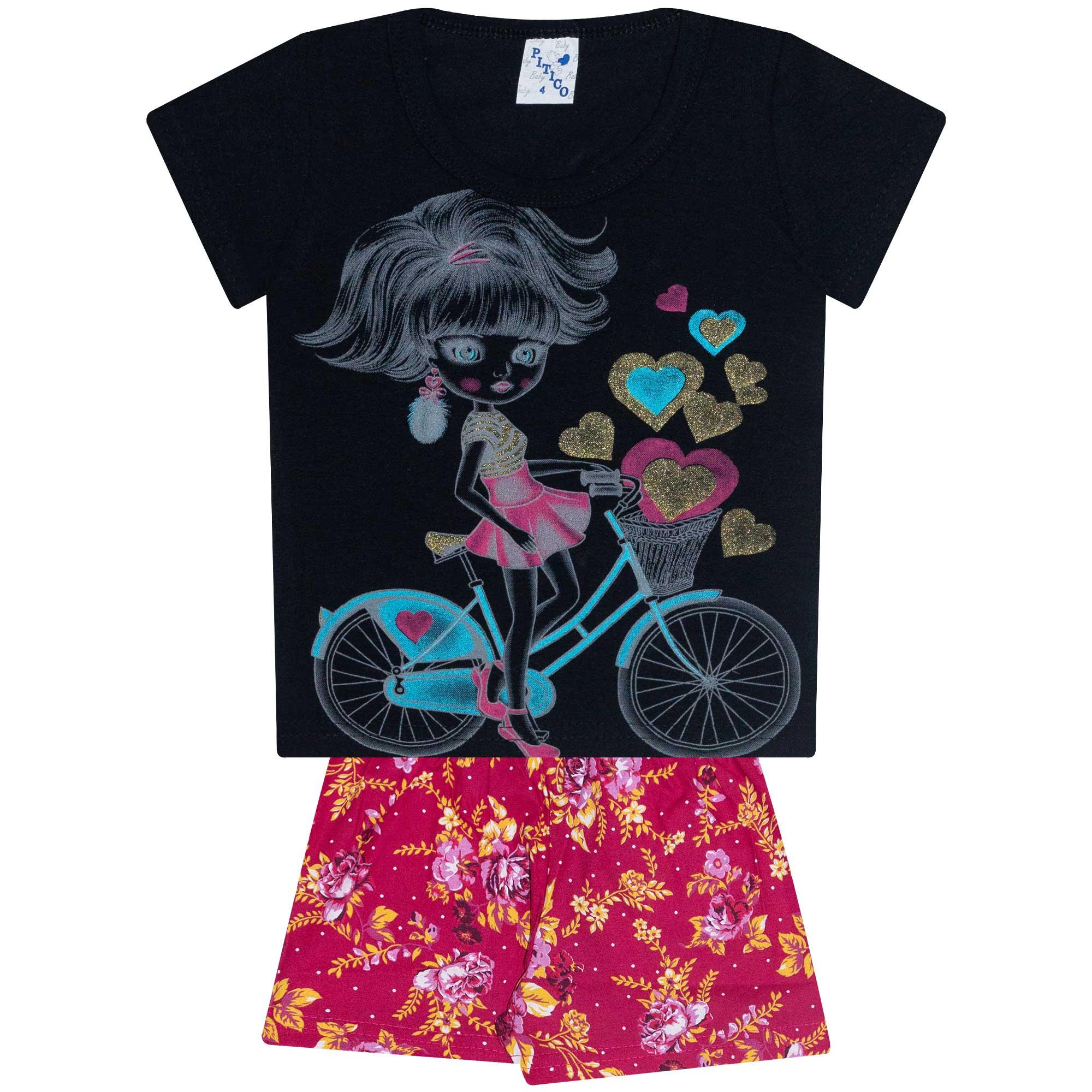 Conjunto Infantil Feminino - Ref 1025 - Preto/Pink - Pitico