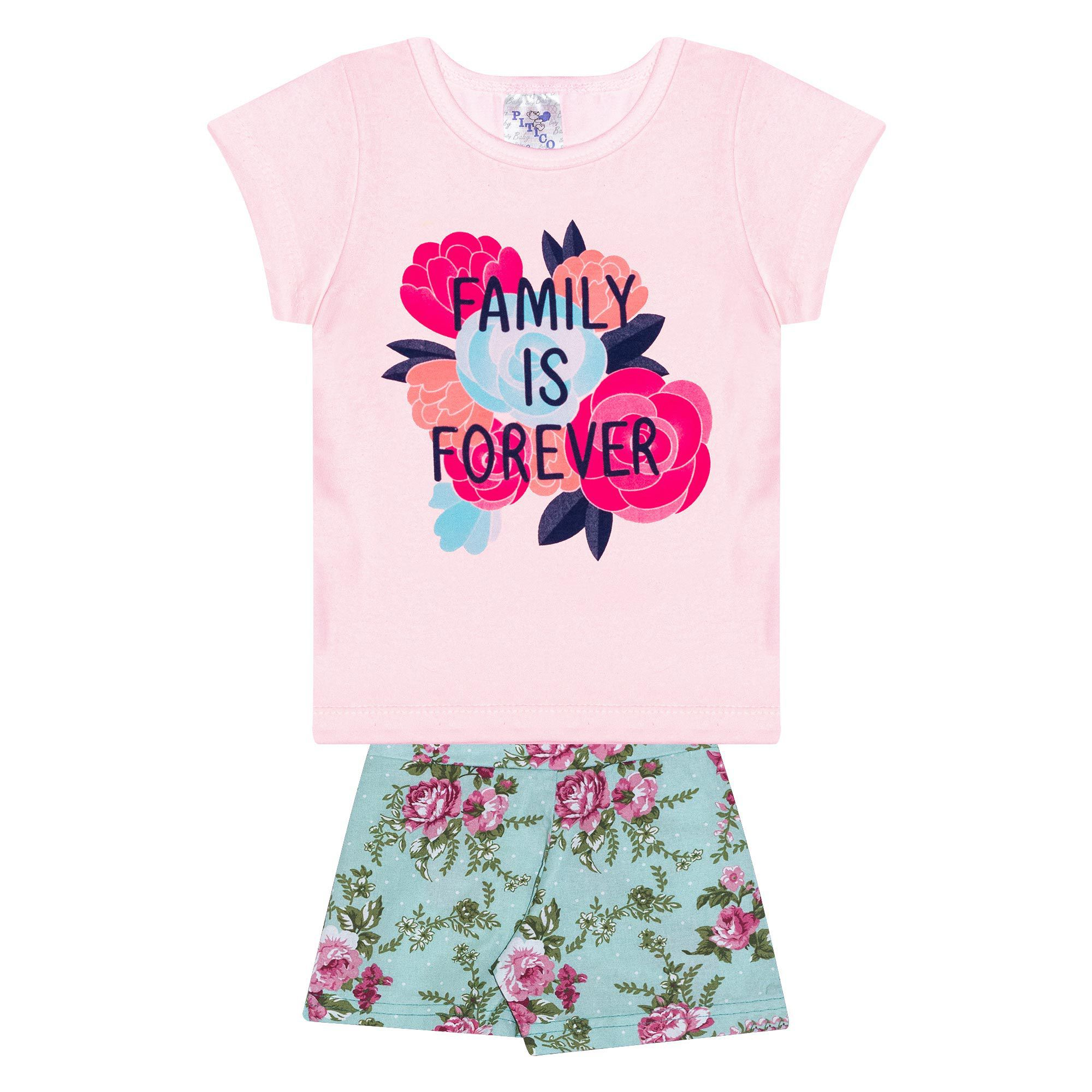 Conjunto Infantil Feminino - Ref 1028 - Rosa/Verde - Pitico