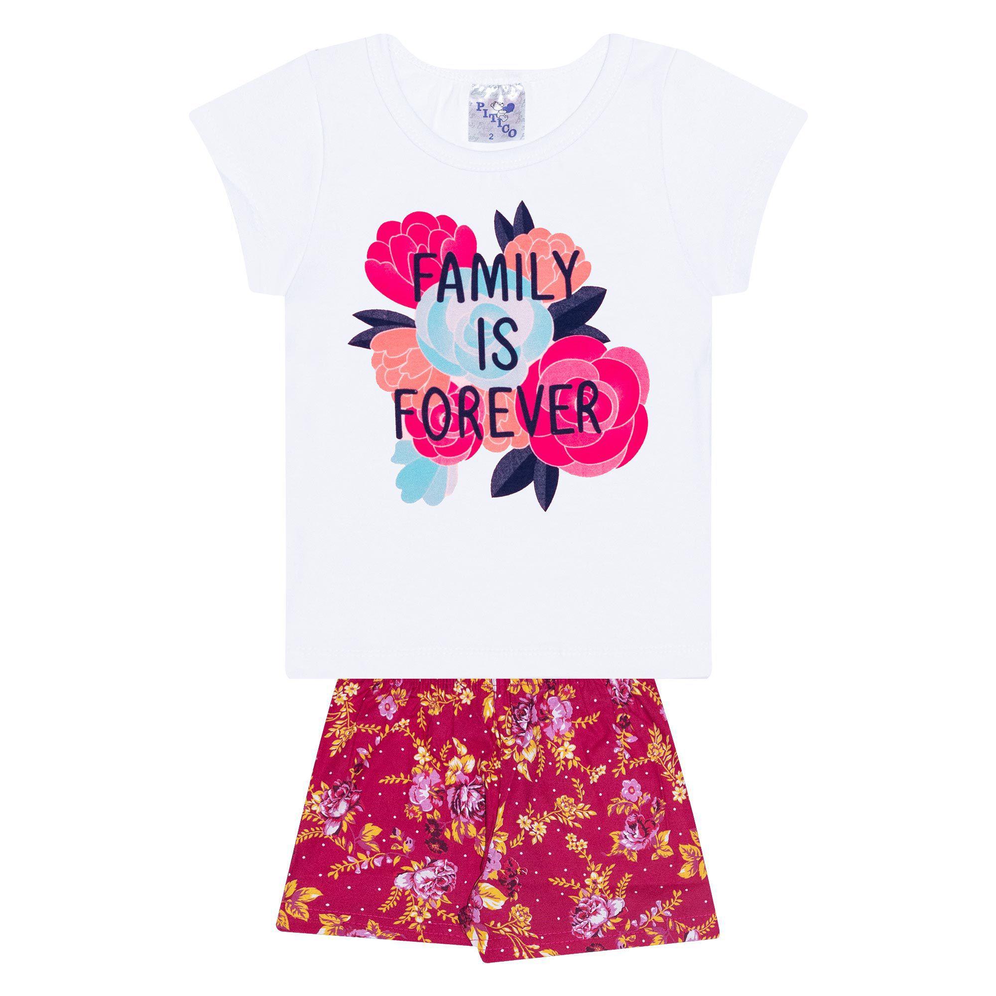 Conjunto Infantil Feminino - Ref 1029 - Branco/Pink - Pitico