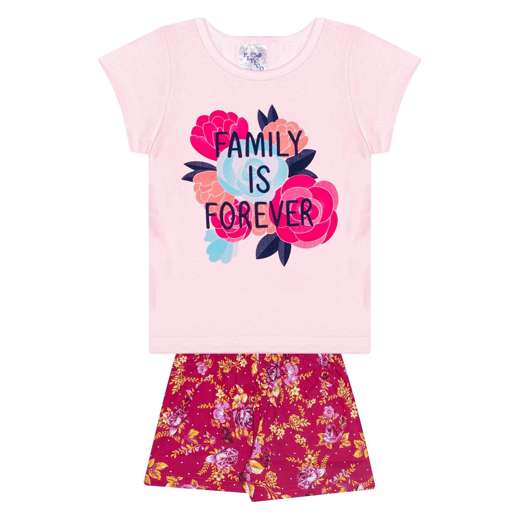 Conjunto Infantil Feminino - Ref 1030 - Rosa/Pink - Pitico