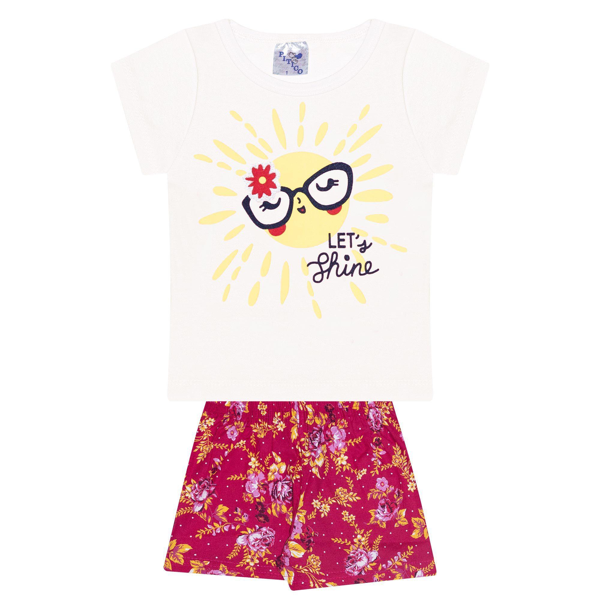 Conjunto Infantil Feminino - Ref 1033 - Pérola/Pink - Pitico