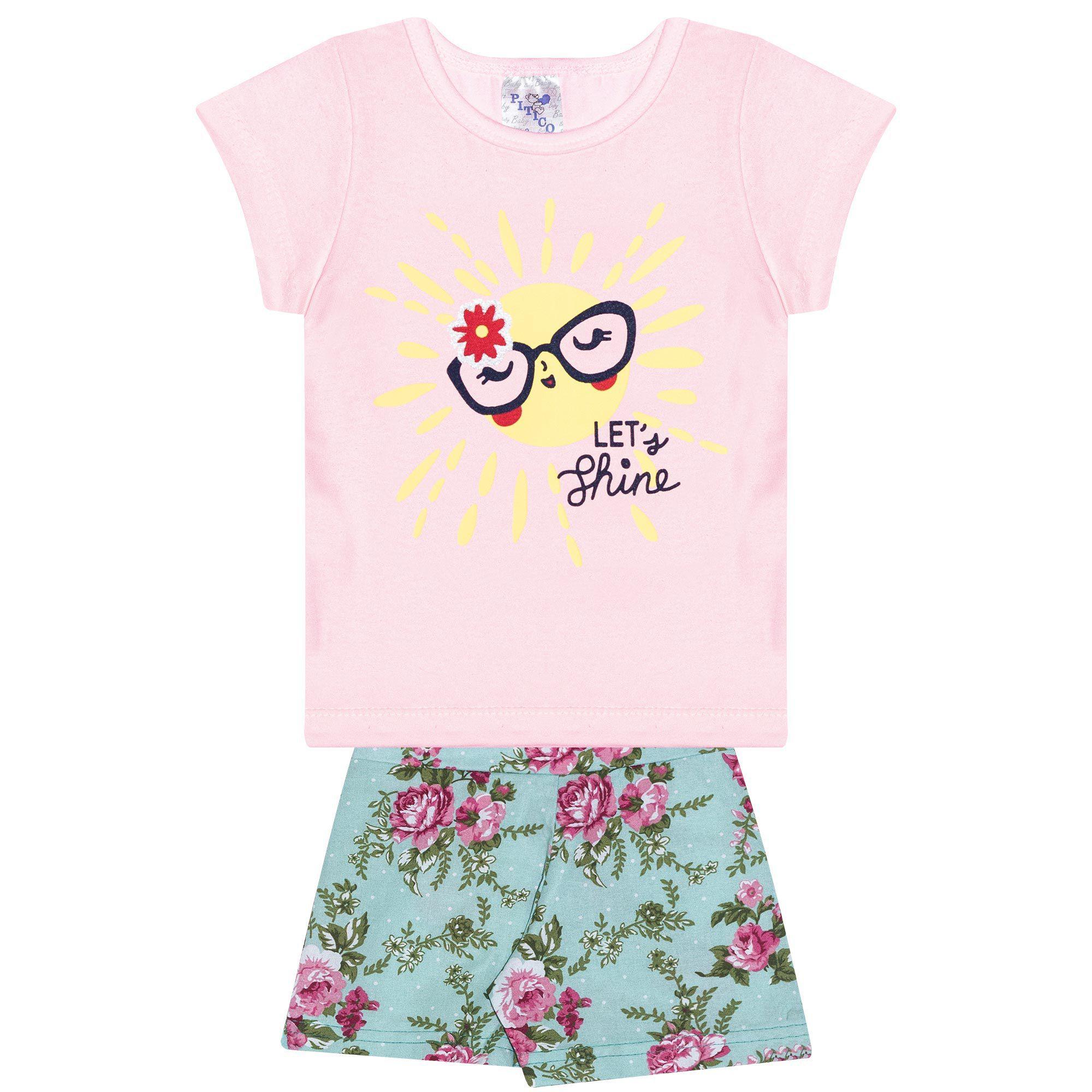 Conjunto Infantil Feminino - Ref 1035 - Rosa/Verde - Pitico