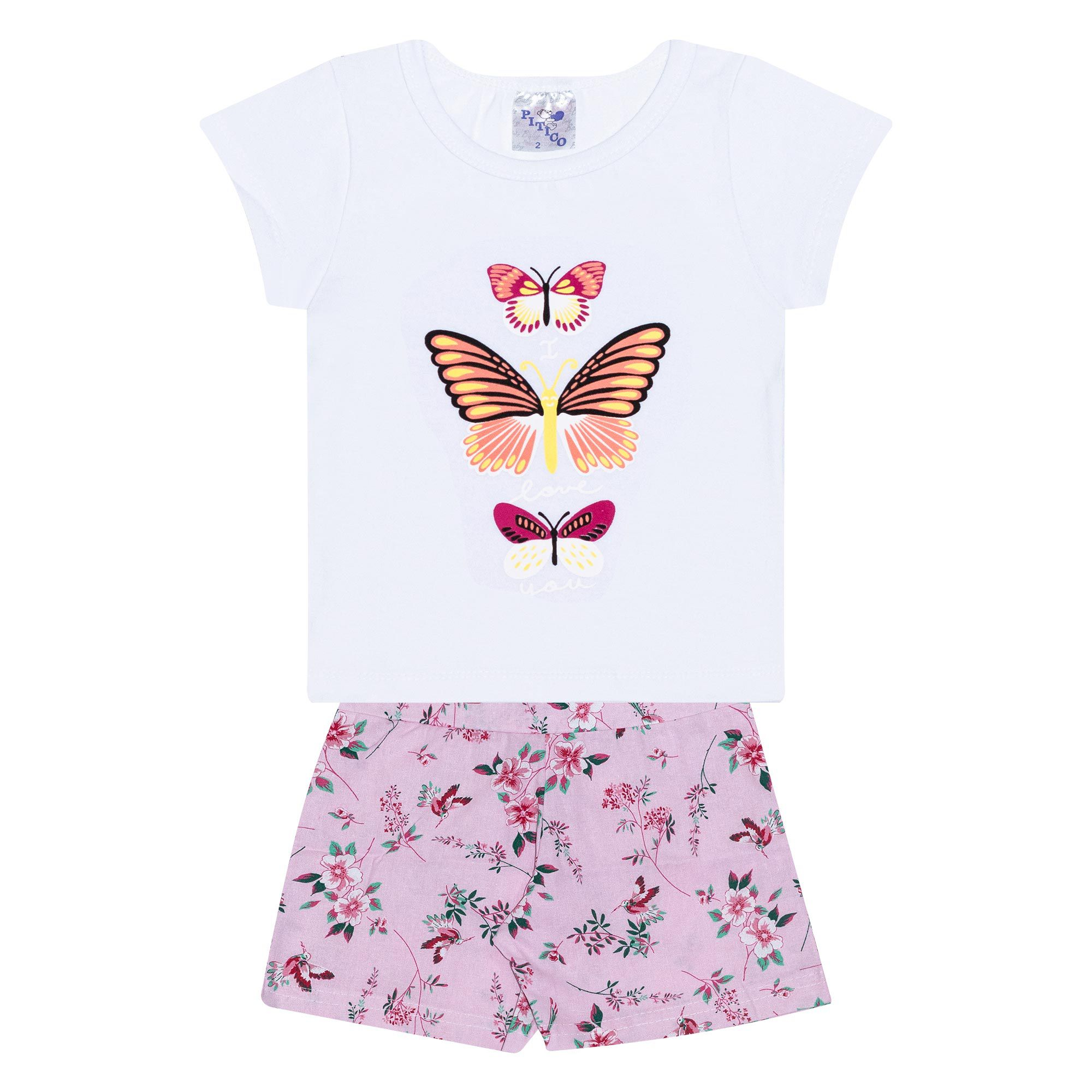 Conjunto Infantil Feminino - Ref 1037 - Branco/Rosa - Pitico