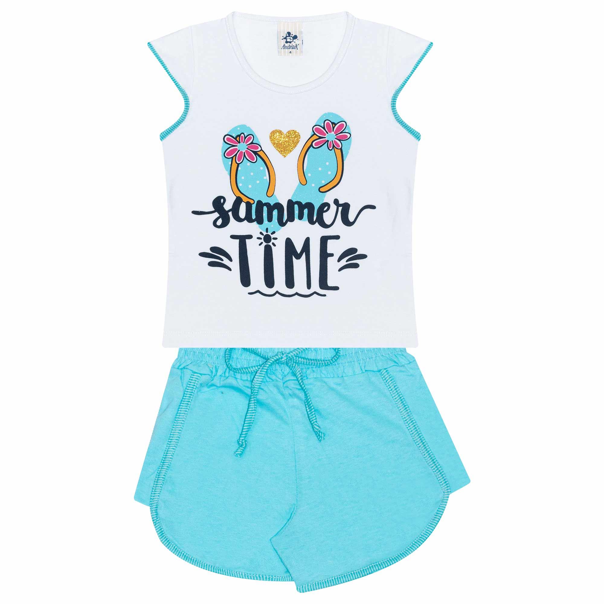 Conjunto Infantil Feminino - Ref 4754  - Branco - Andritex