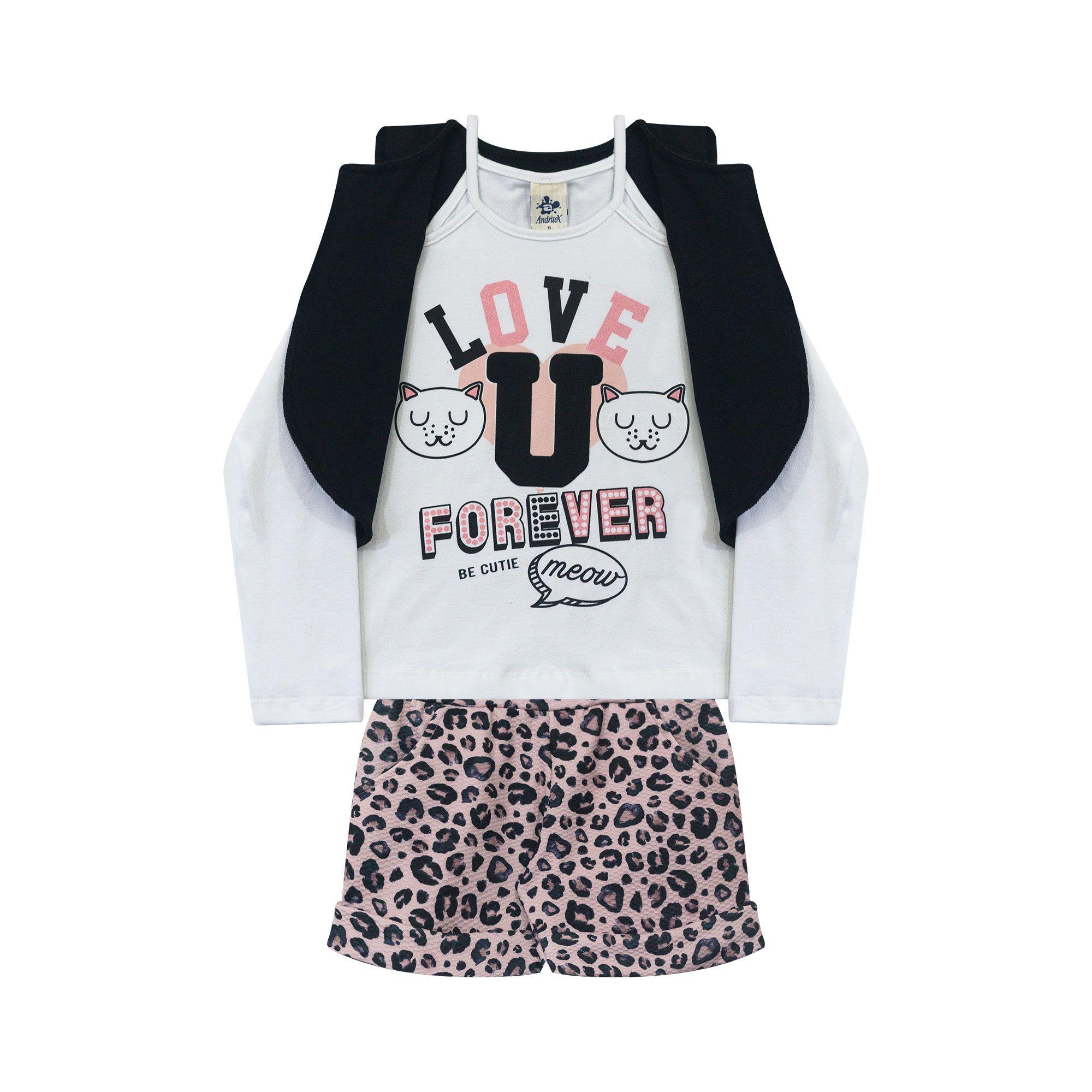 Conjunto Infantil Feminino  - Ref 4999 - Branco/ME02