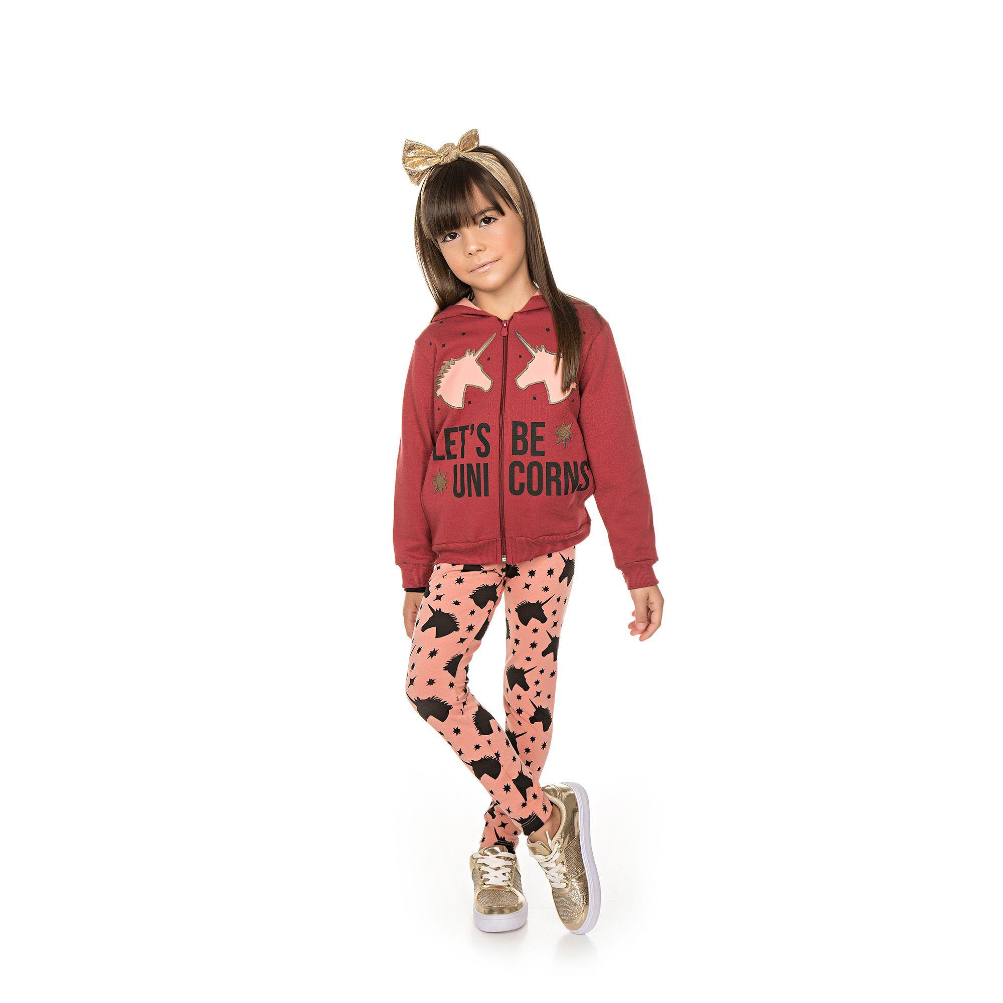 Conjunto Infantil Jaqueta e Legging  - Ref 4994 - Ameixa/Rosa