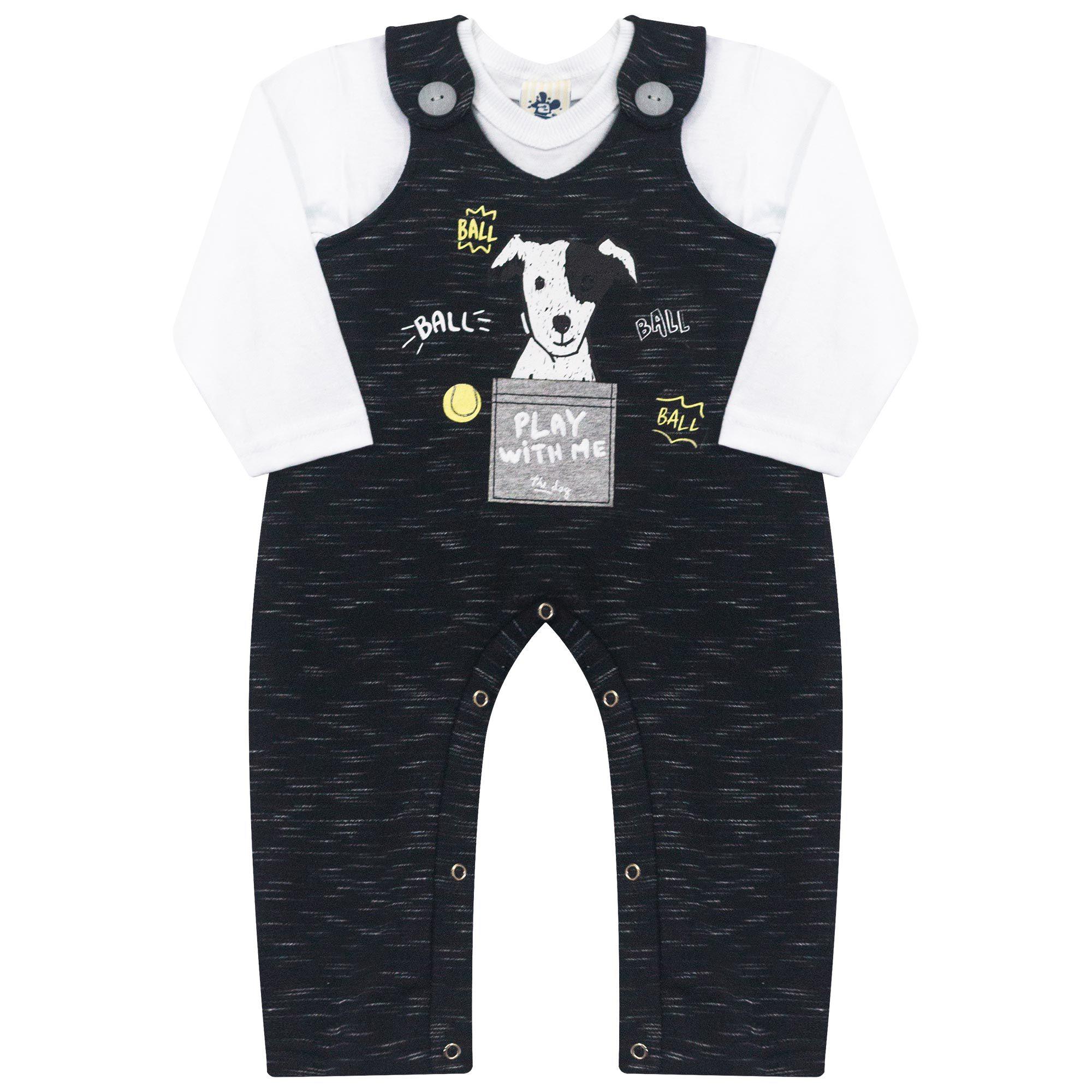 Conjunto Infantil Jardineira para Bebê 2 peças - Ref 4949 - Branco/Preto