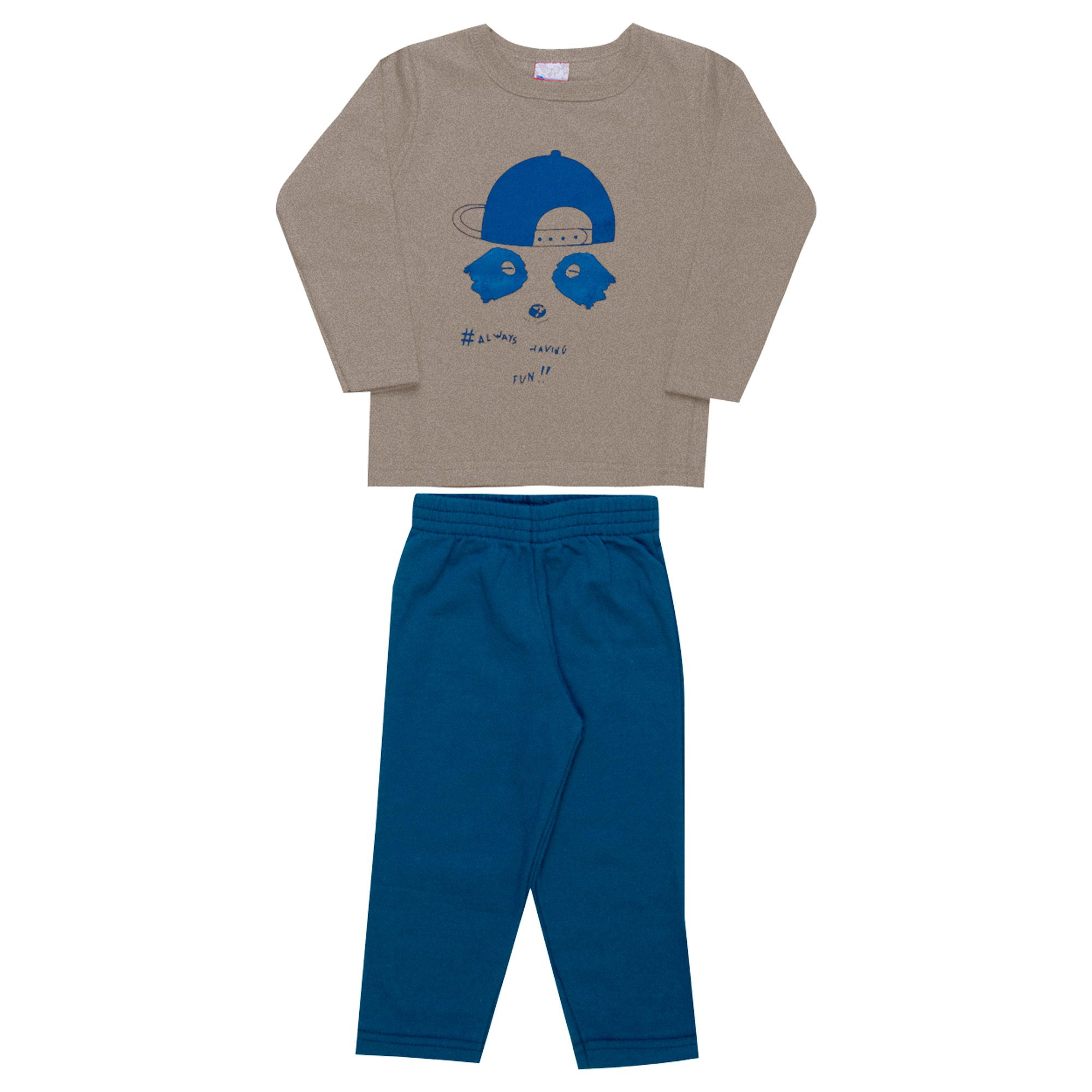 Conjunto Infantil Masculino  2 peças - Ref 1959 - Banana/Azul