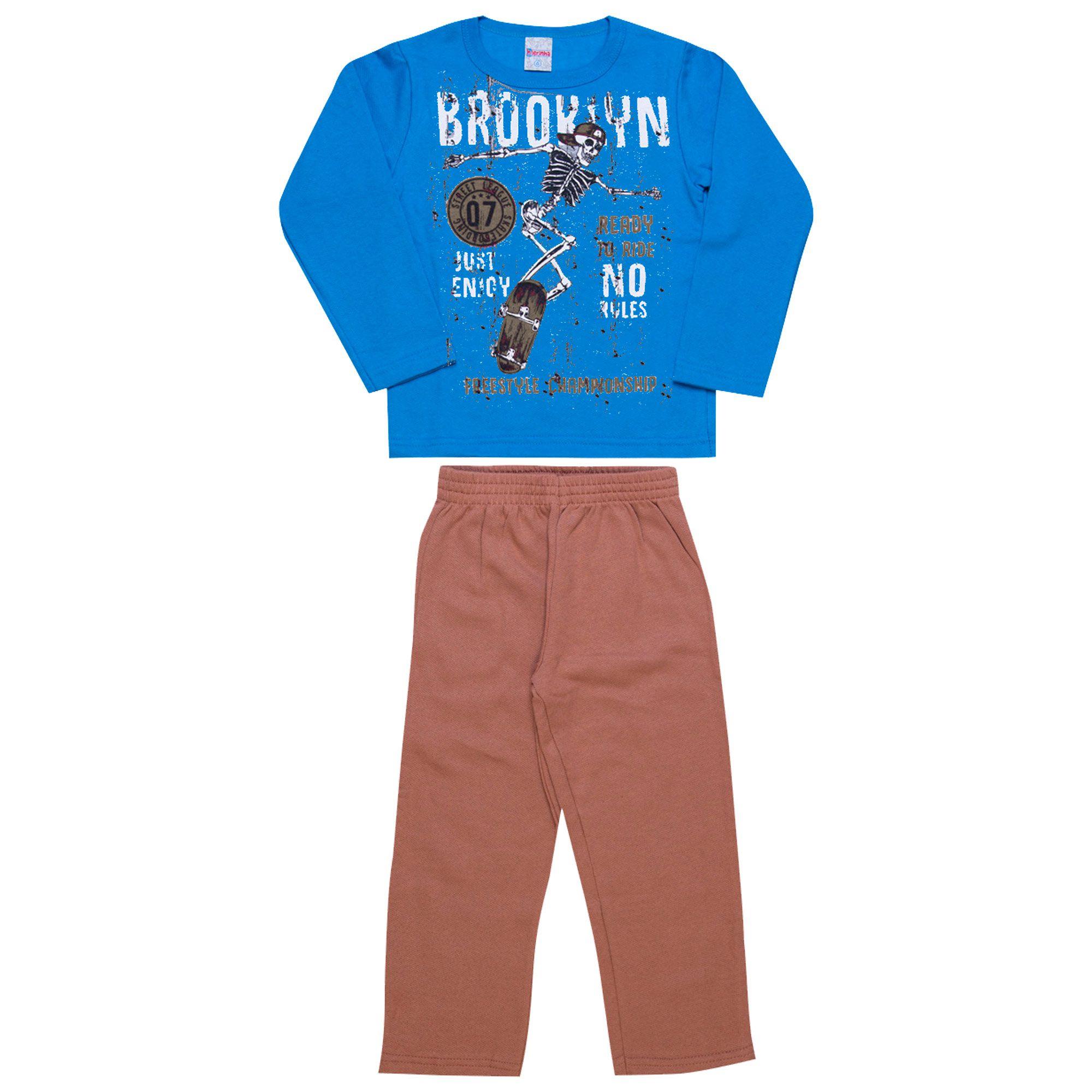 Conjunto Infantil Masculino  2 peças - Ref 1960 - Azul/Caqui