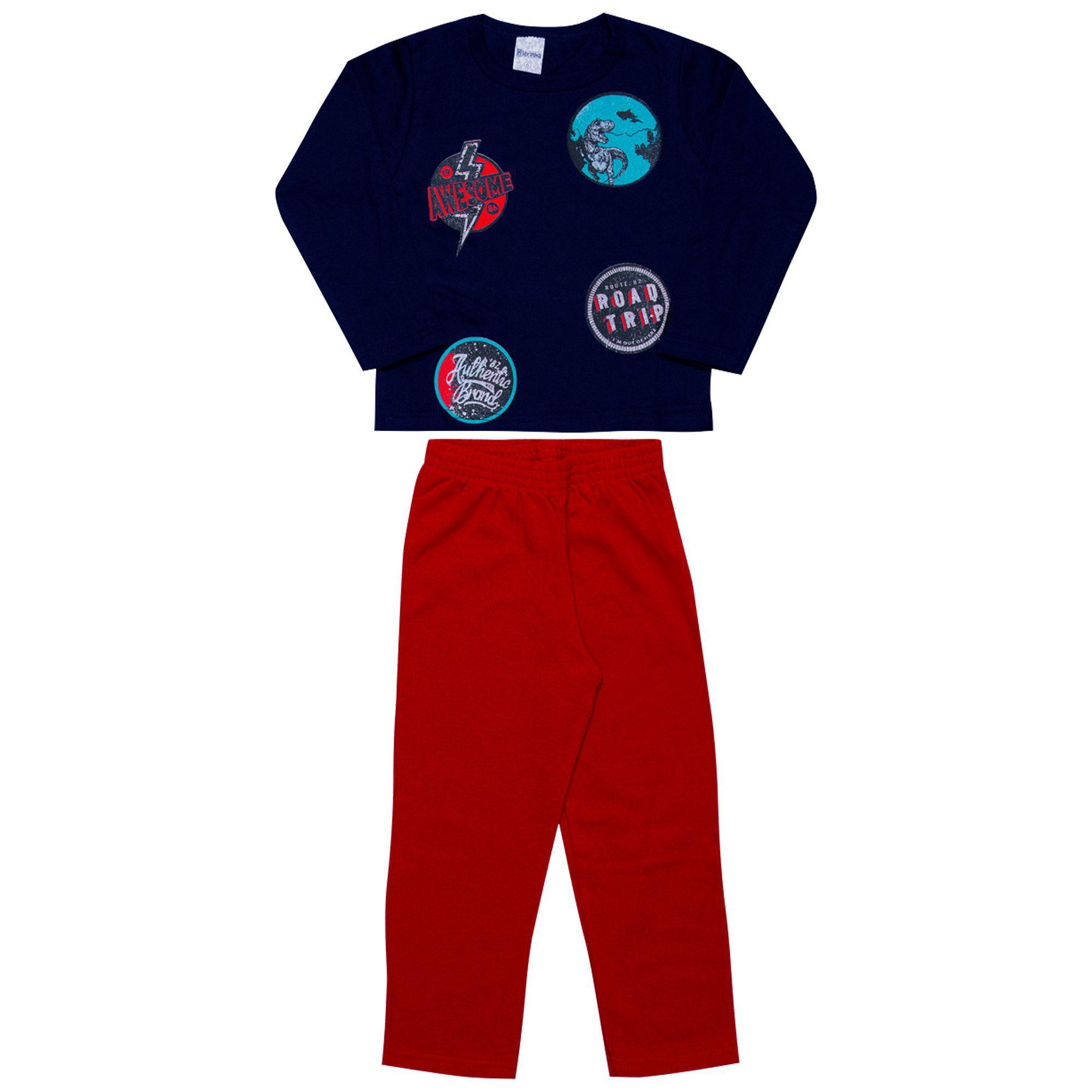 Conjunto Infantil Masculino 2 peças - Ref 1964 - Marinho/Vermelho