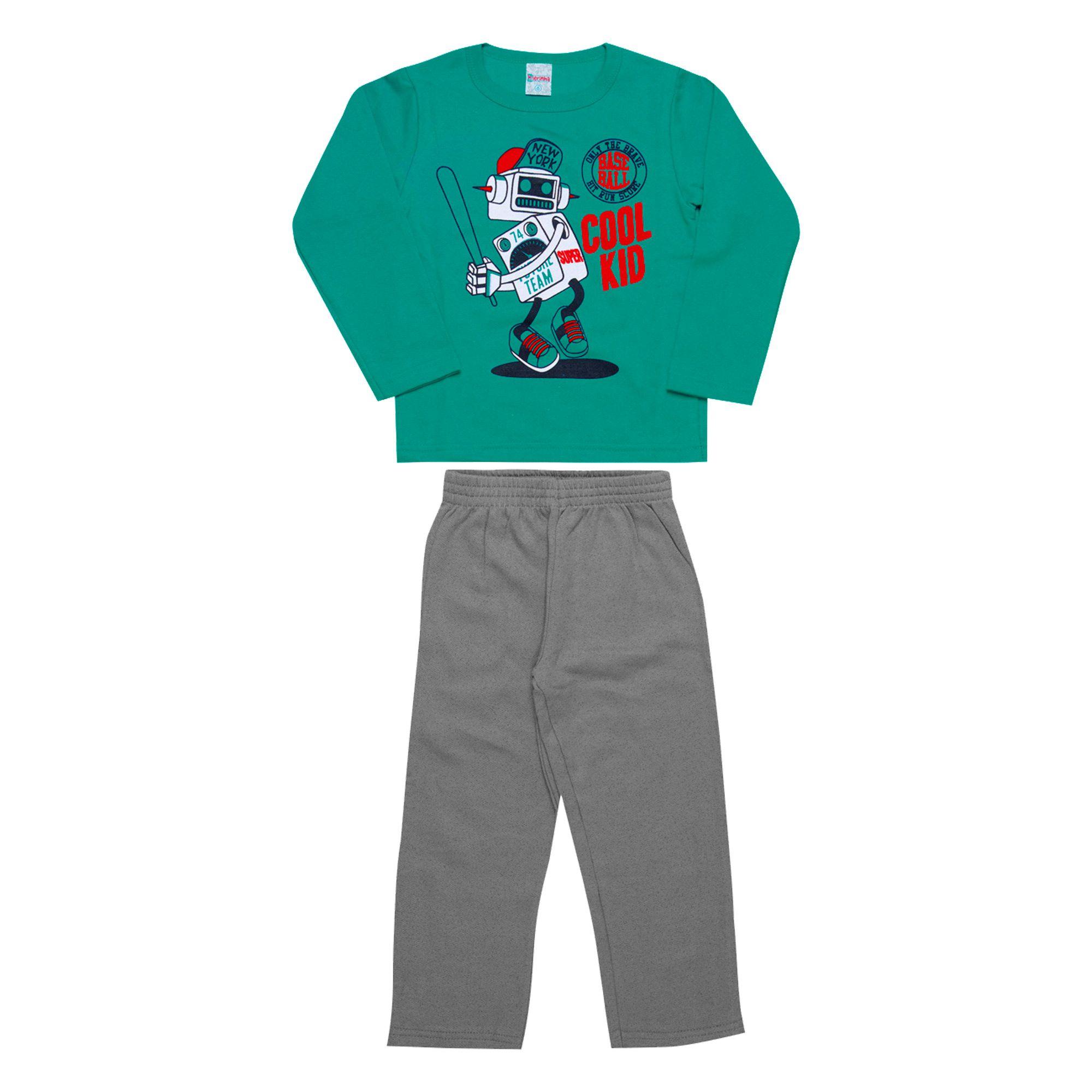 Conjunto Infantil Masculino  2 peças - Ref 1965 - Verde/Mescla