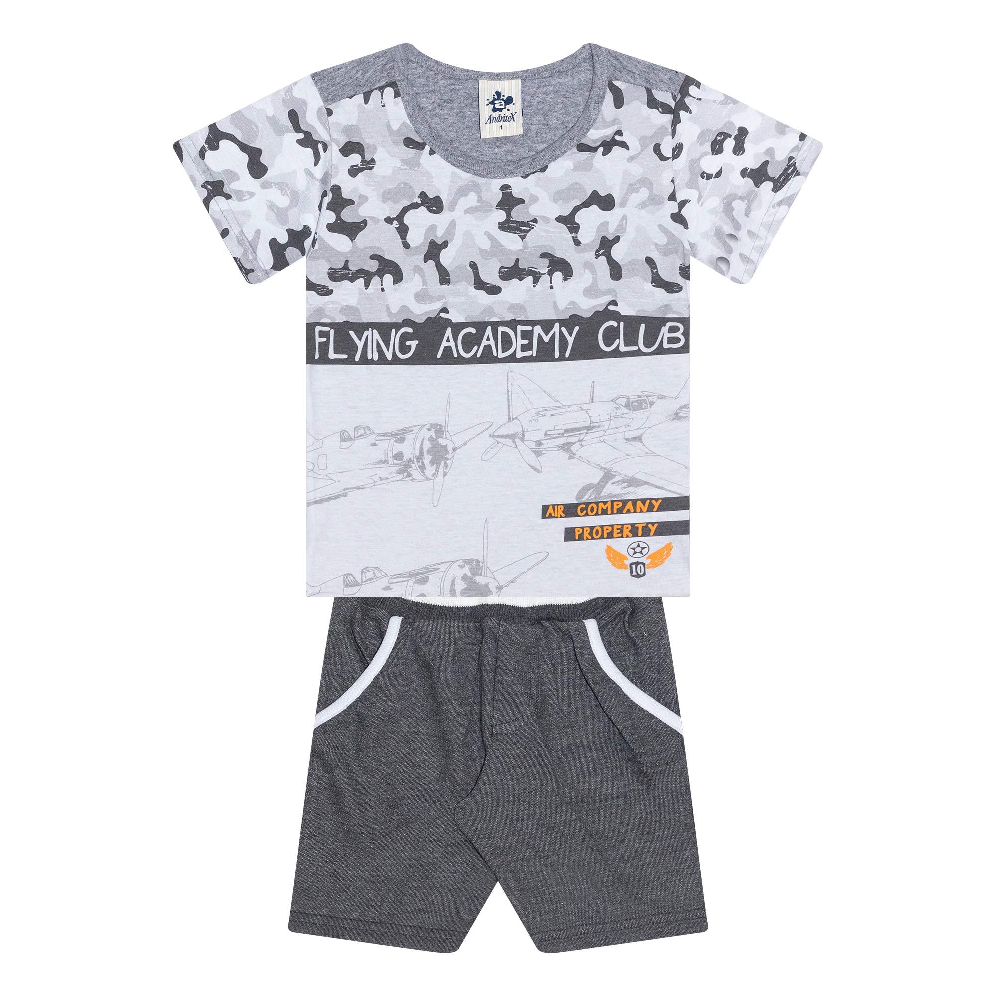 Conjunto Infantil Masculino Academy - Ref 4854 - Branco/Mescla - Andritex