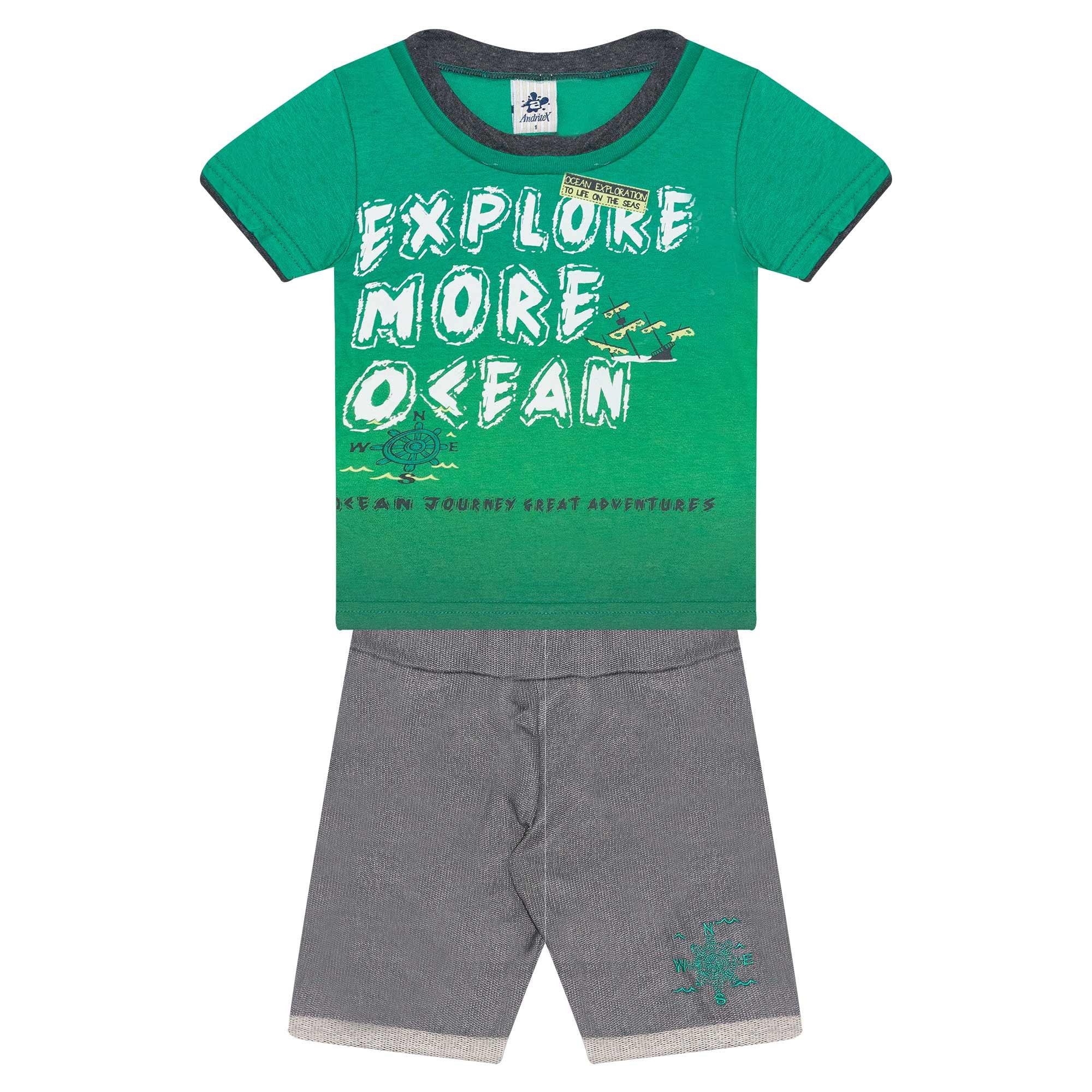 Conjunto Infantil Masculino - Ref 4728  - Verde - Andritex