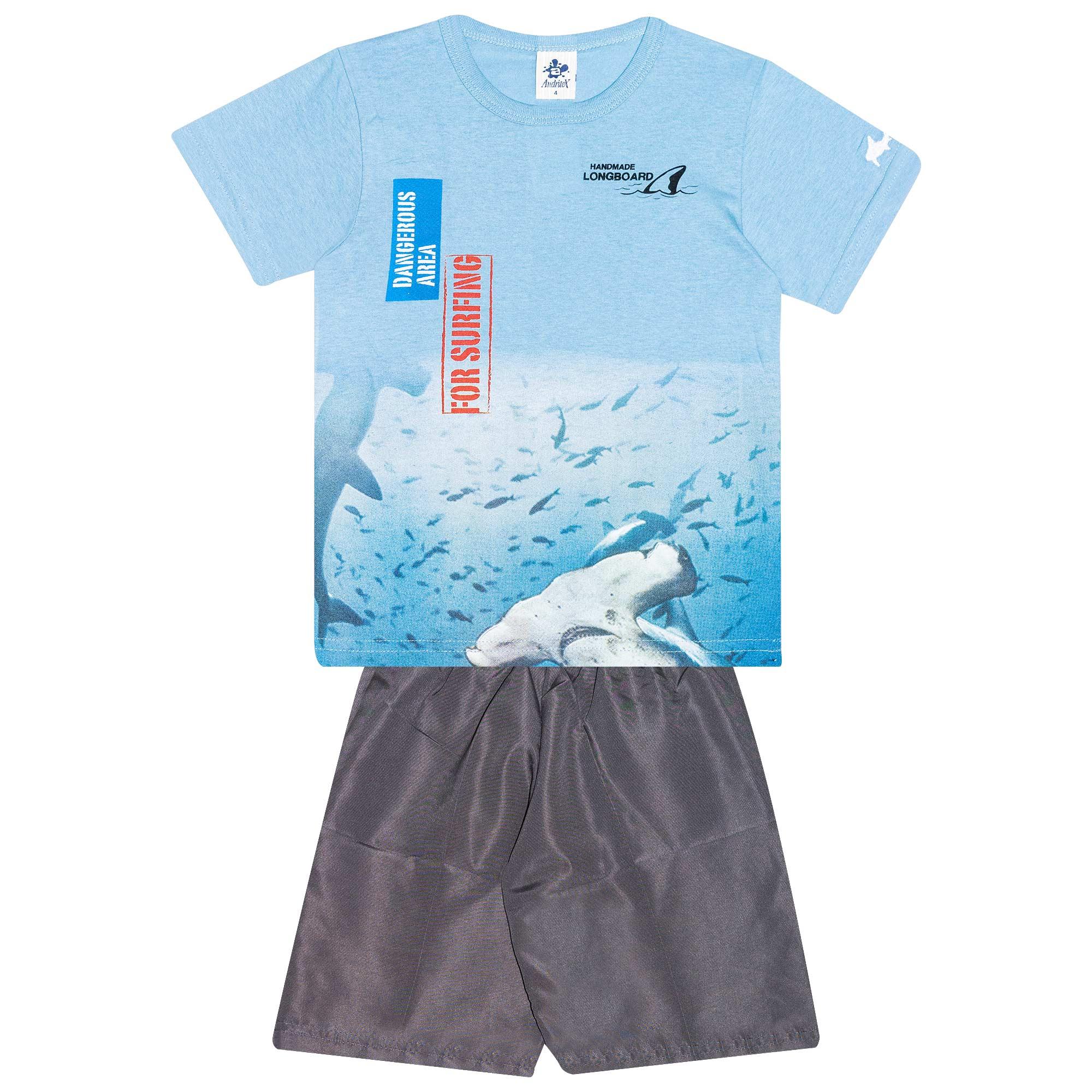 Conjunto Infantil Masculino - Ref 4770  - Azul - Andritex