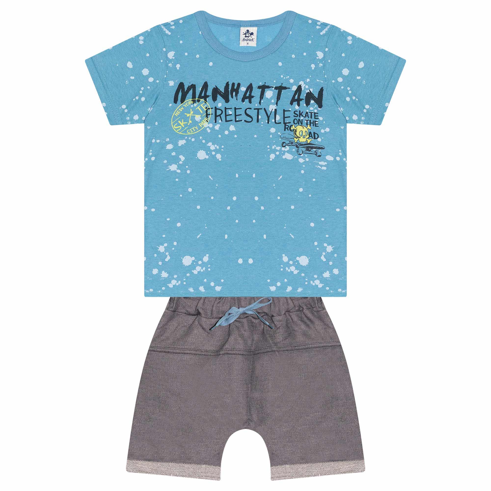 Conjunto Infantil Masculino - Ref 4772  - Azul - Andritex