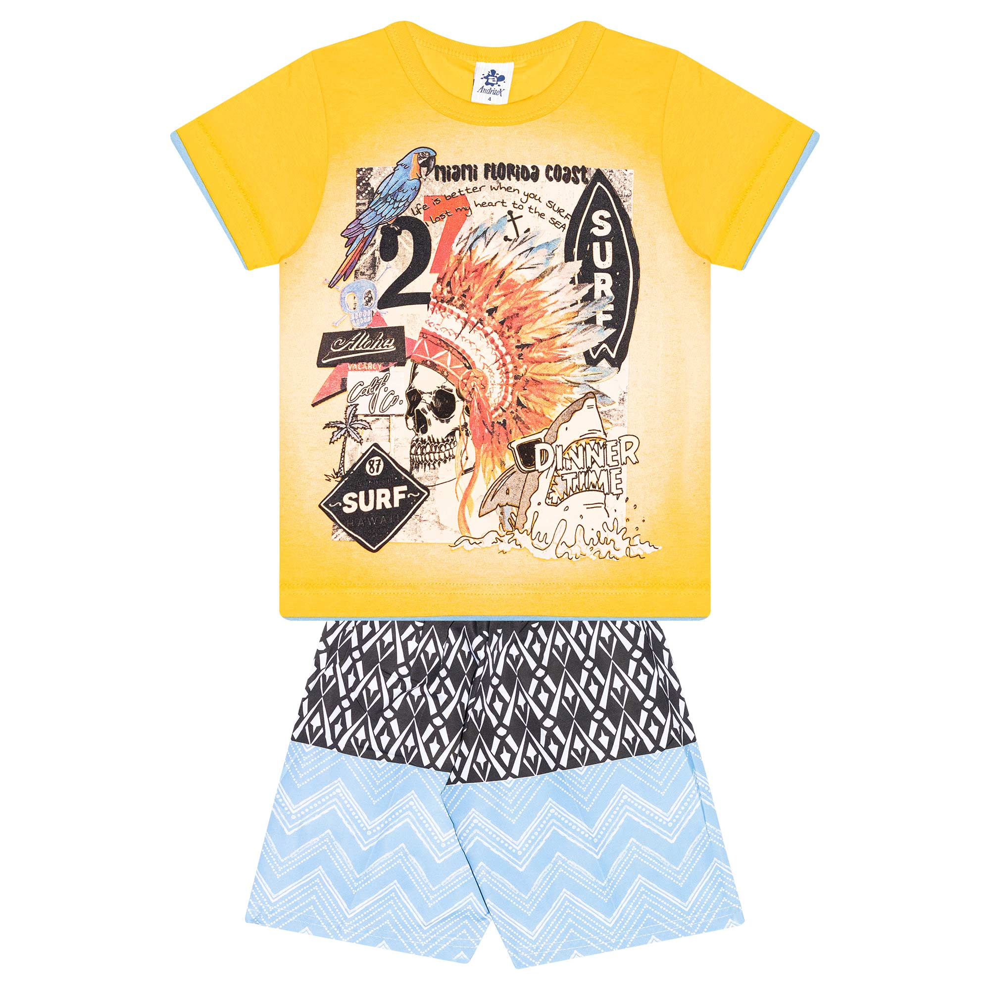 Conjunto Infantil Masculino - Ref 4780  - Amarelo - Andritex
