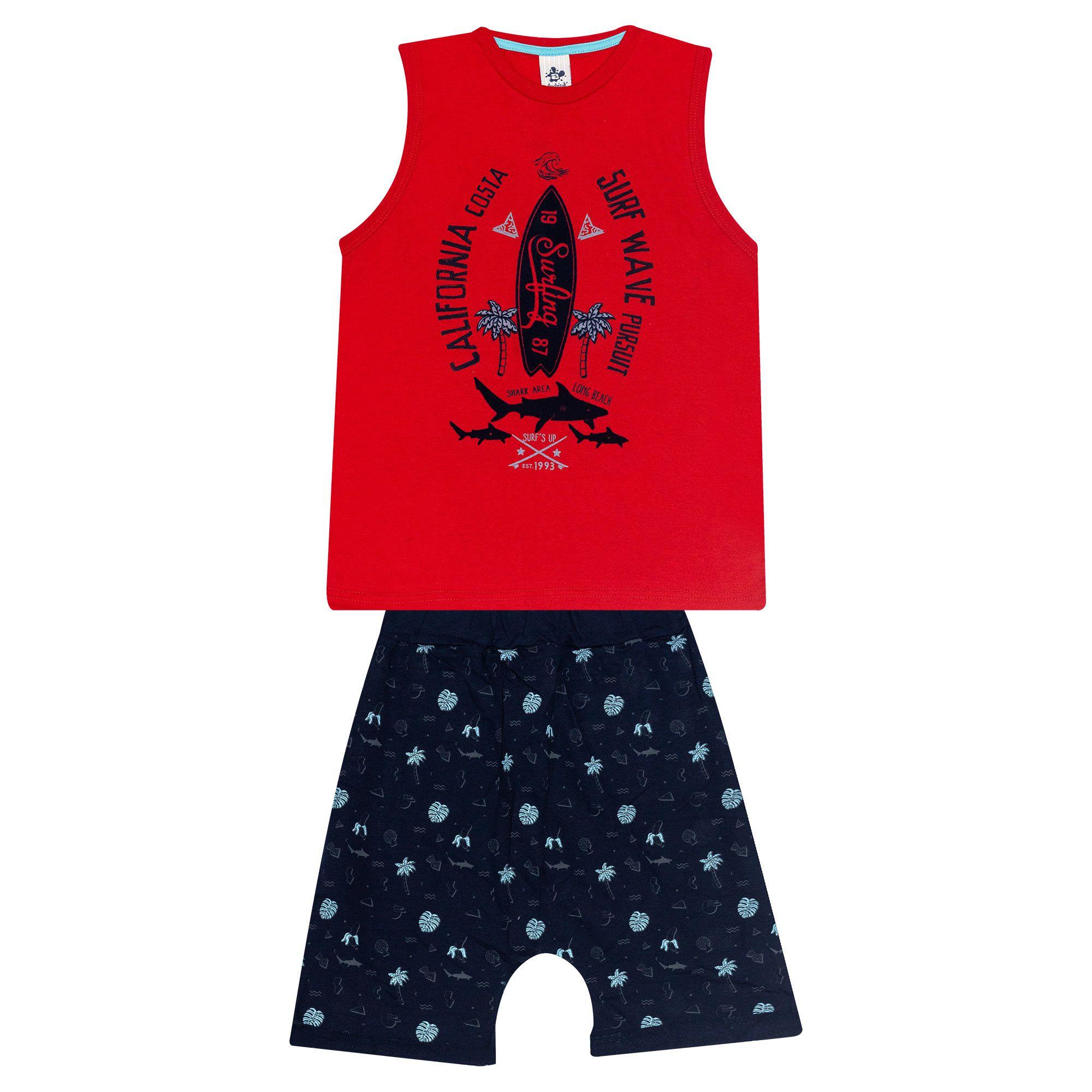 Conjunto Infantil Masculino - Ref 4783  - Vermelho - Andritex