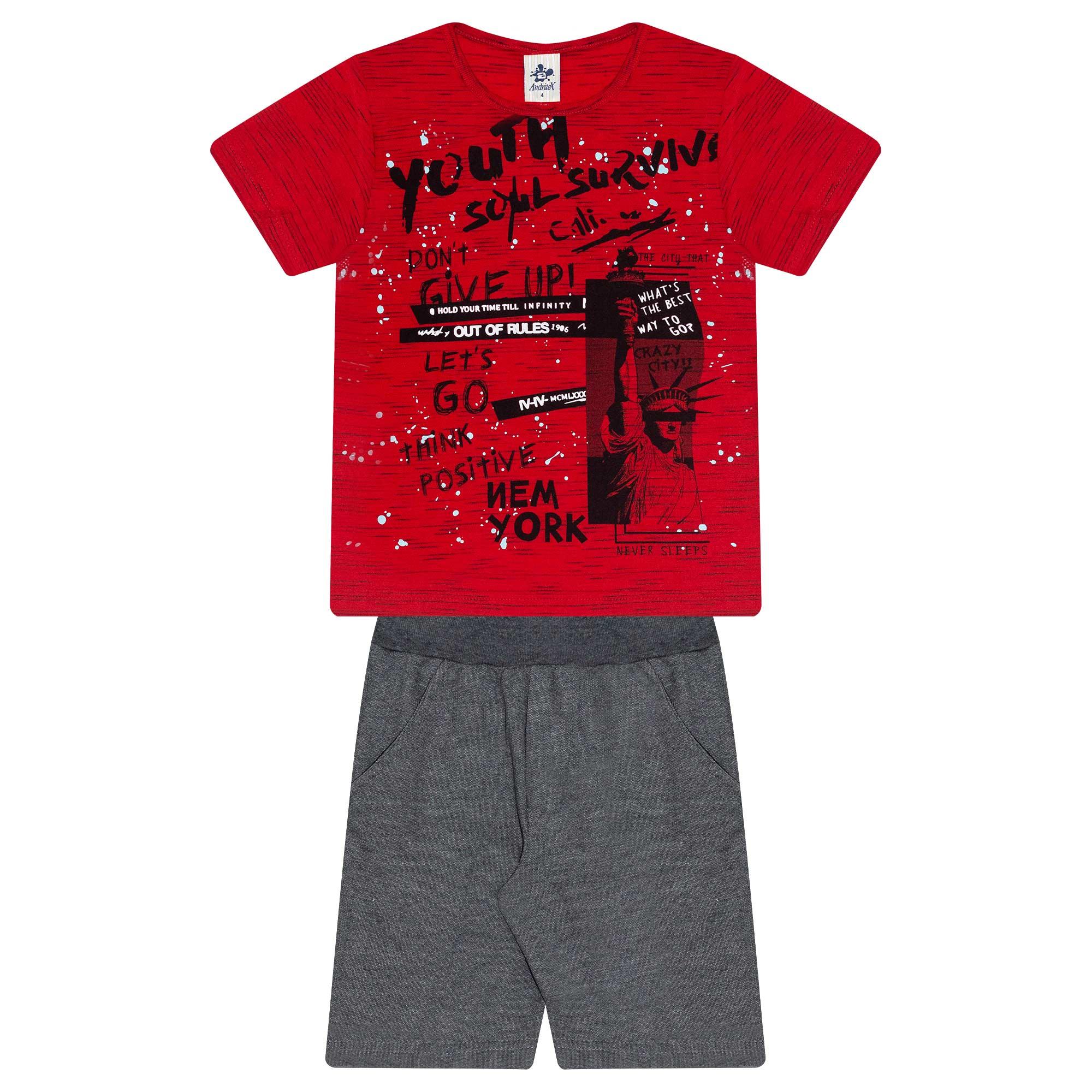 Conjunto Infantil Masculino - Ref 4905 - Vermelho - Andritex