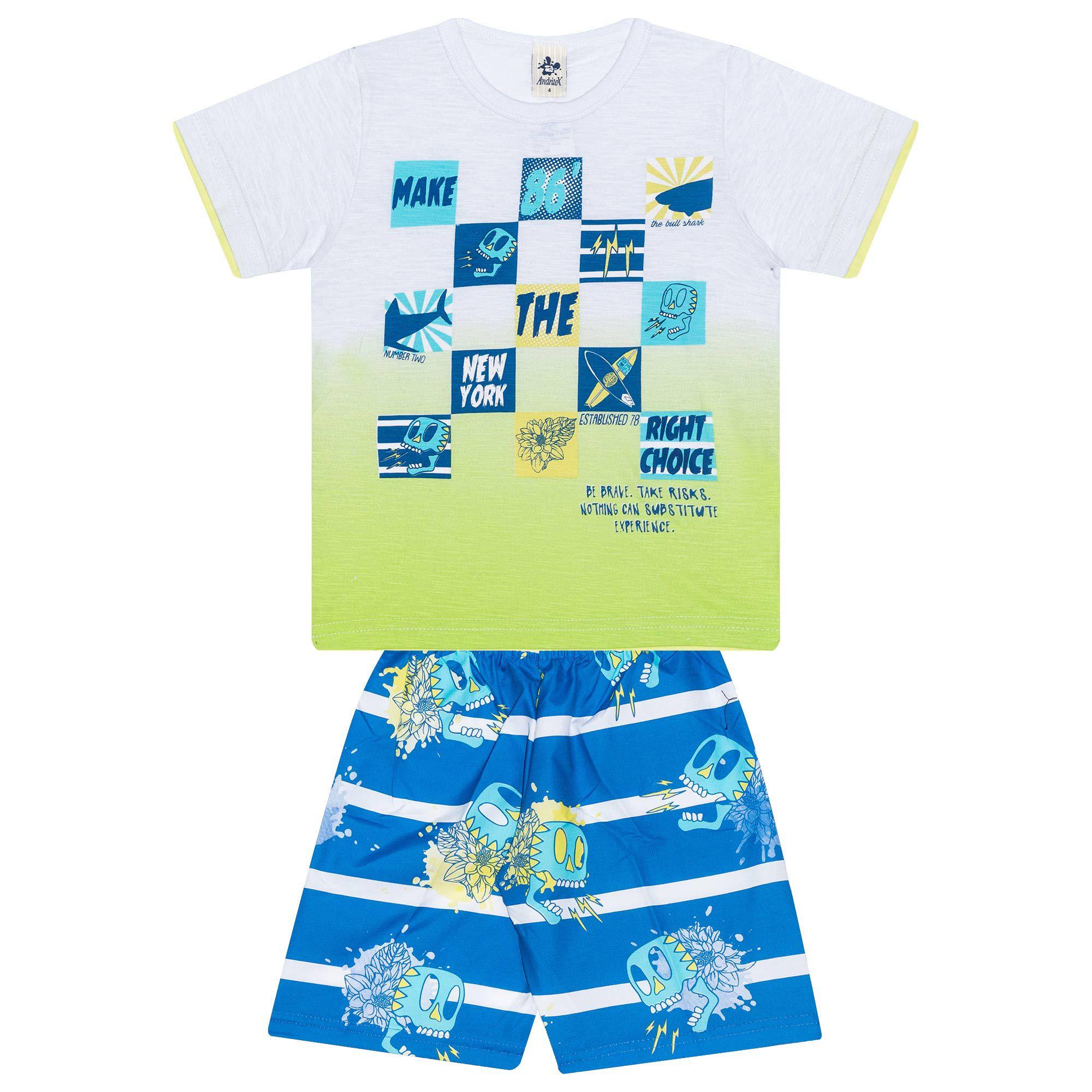 Conjunto Infantil Masculino - Ref 4908 - Branco - Andritex