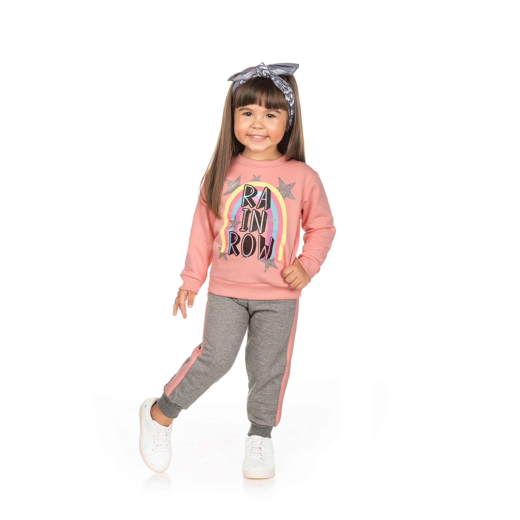 Conjunto Infantil Moletom 2 peças - Ref 4953 - Rosa