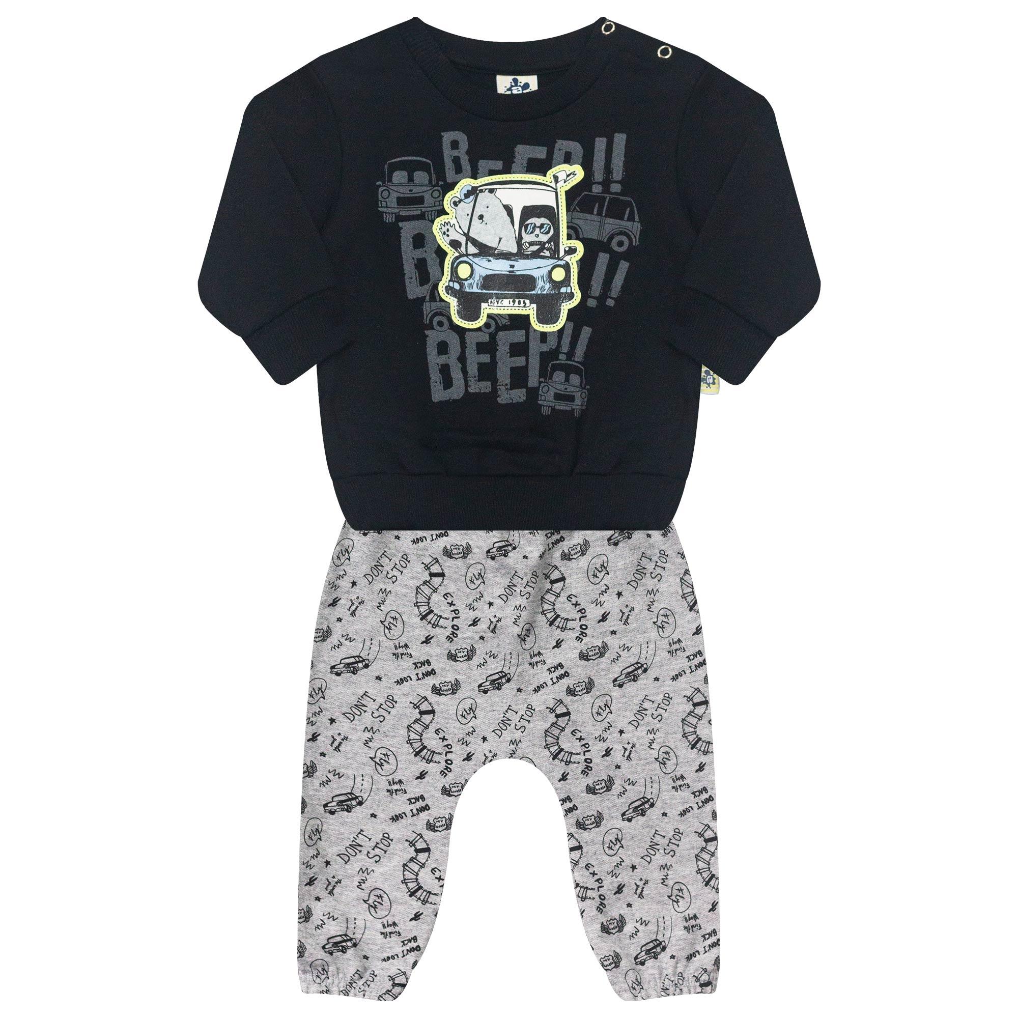 Conjunto Infantil para Bebê 2 peças - Ref 4942 - Preto/Mescla