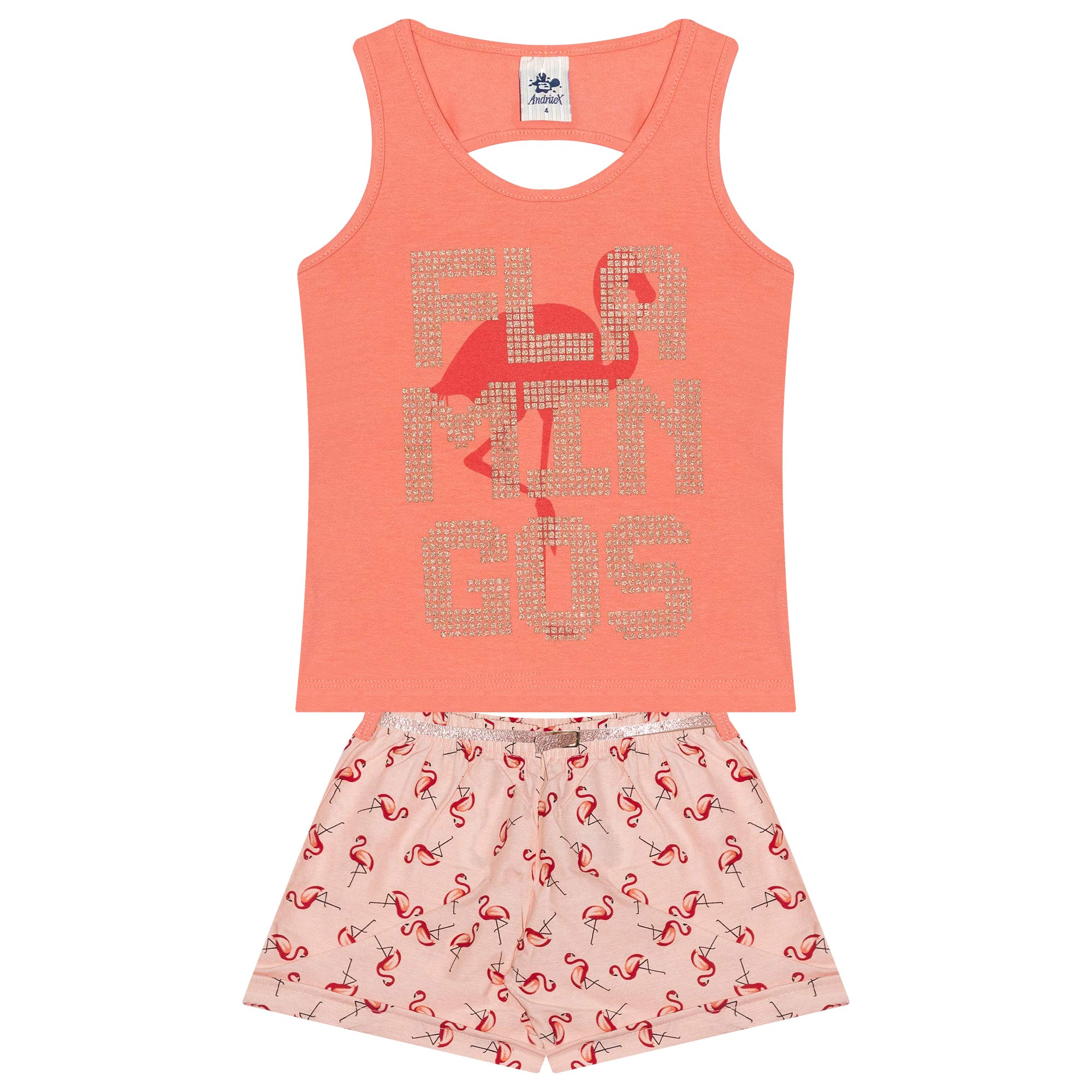 Conjunto Infantil Regata Feminino Flamingo - Ref 4878 - Salmão - Andritex