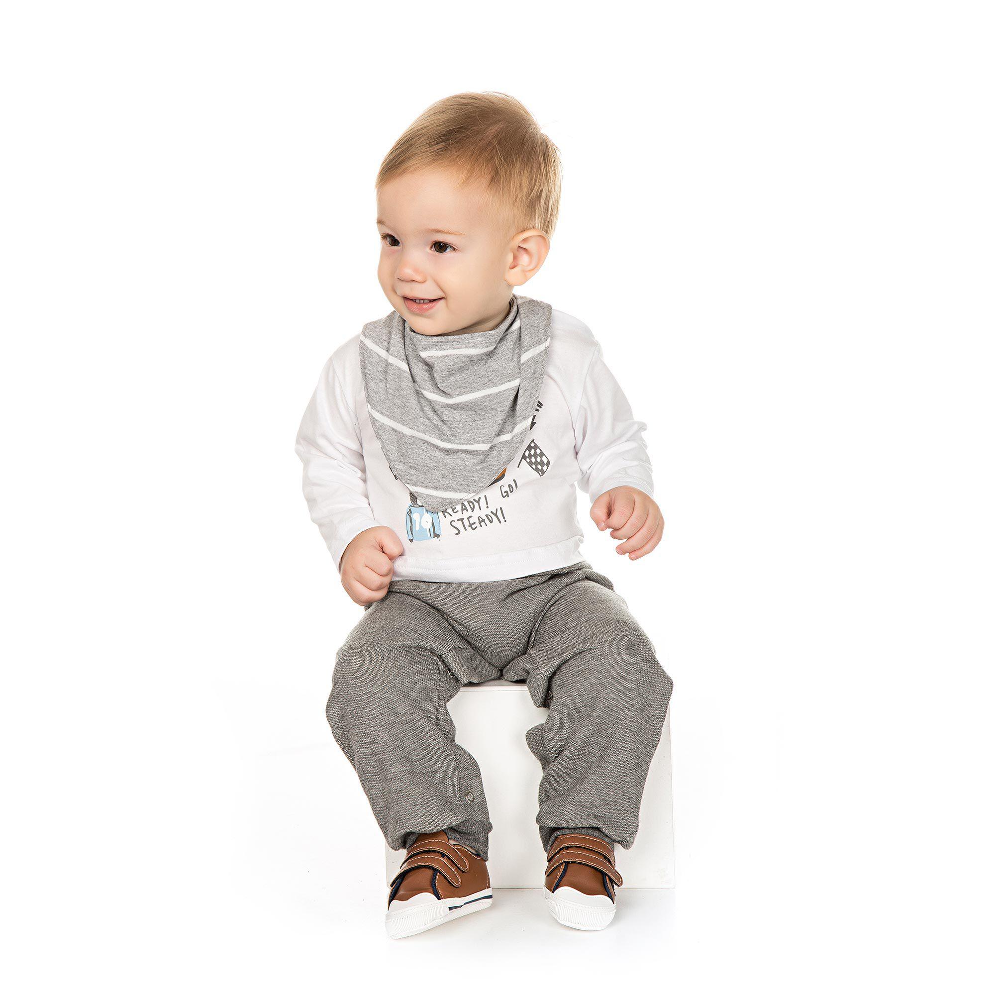 Conjunto Macacão Infantil com Babador para Bebê - Ref 4950 - Branco/Mescla