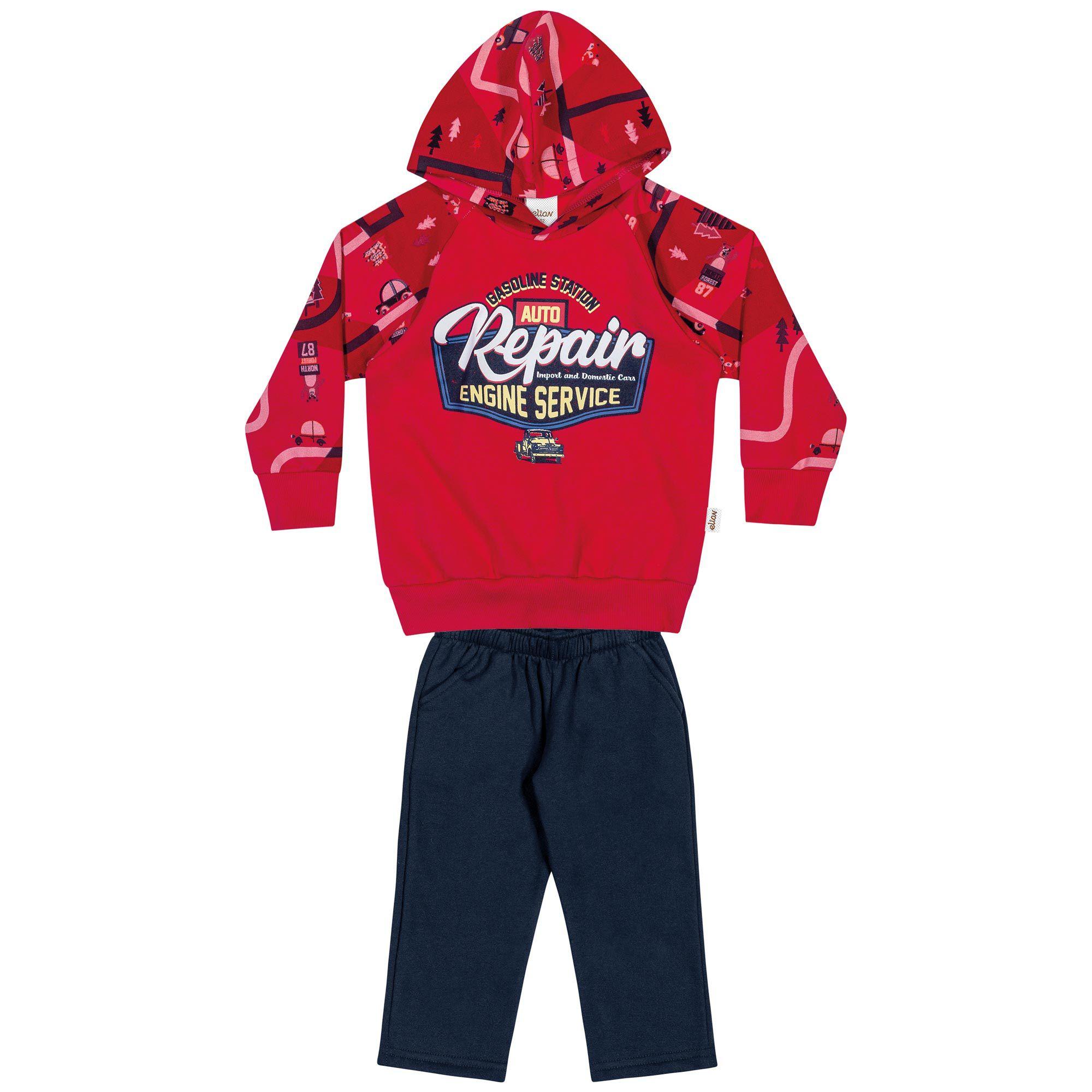 Conjunto Masculino Infantil Elian com Blusão e Calça - Ref 22875 - Vermelho