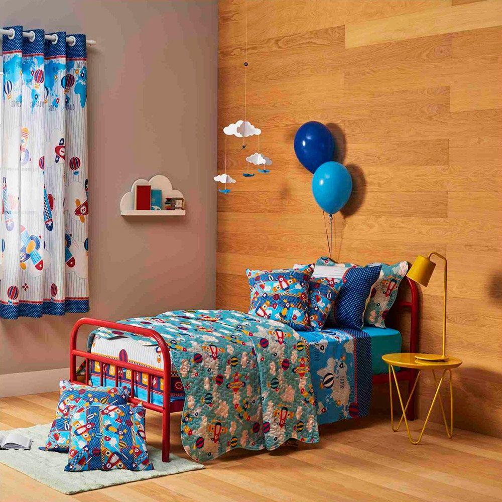 Jogo de cama Infantil Santista Aviões - 3 peças - 100% Algodão
