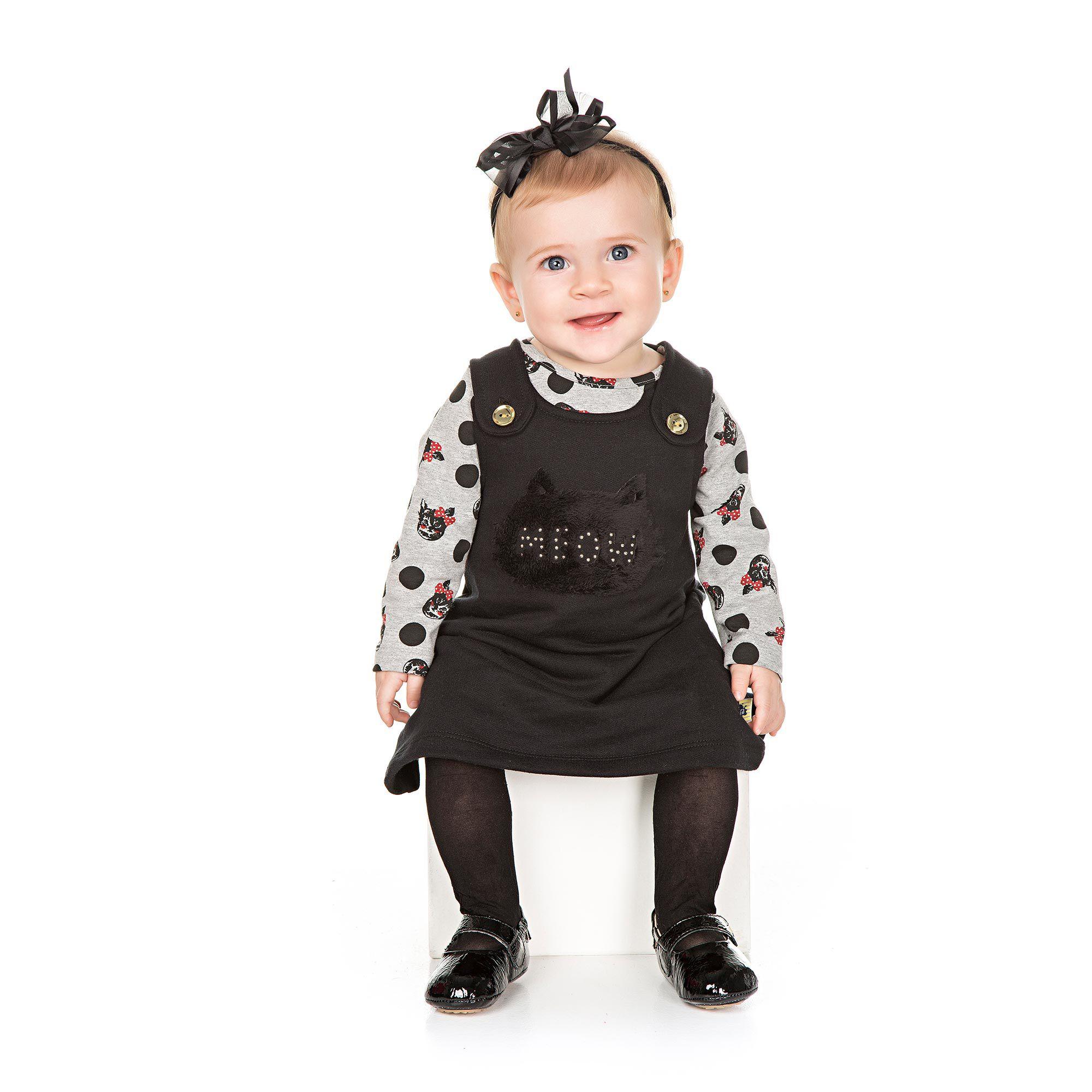 Vestido de Moletom + Body Blusa para Bebê 2 peças - Ref 4938 - E30/Preto