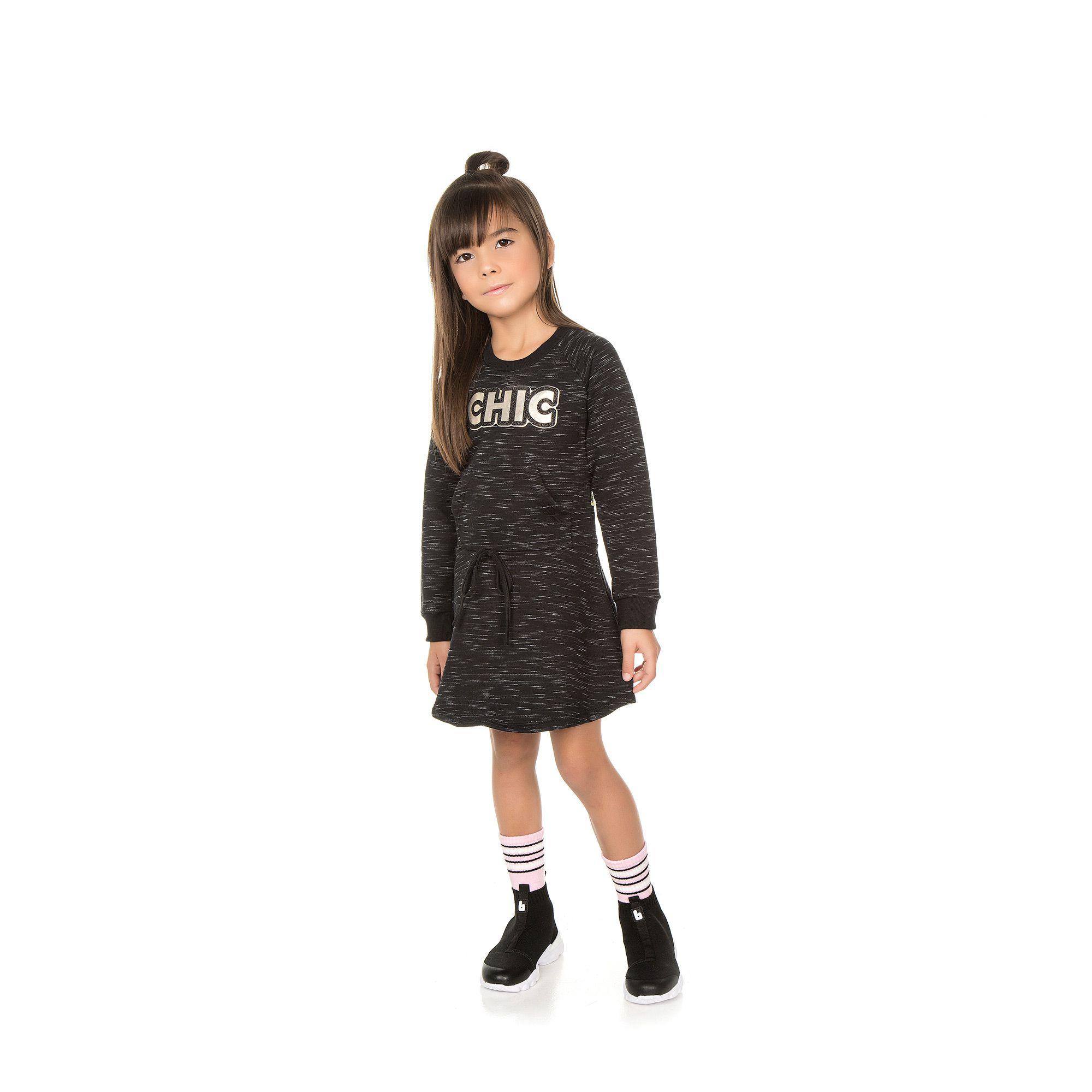 Vestido em Moletom Infantil - Ref 5002 - Preto