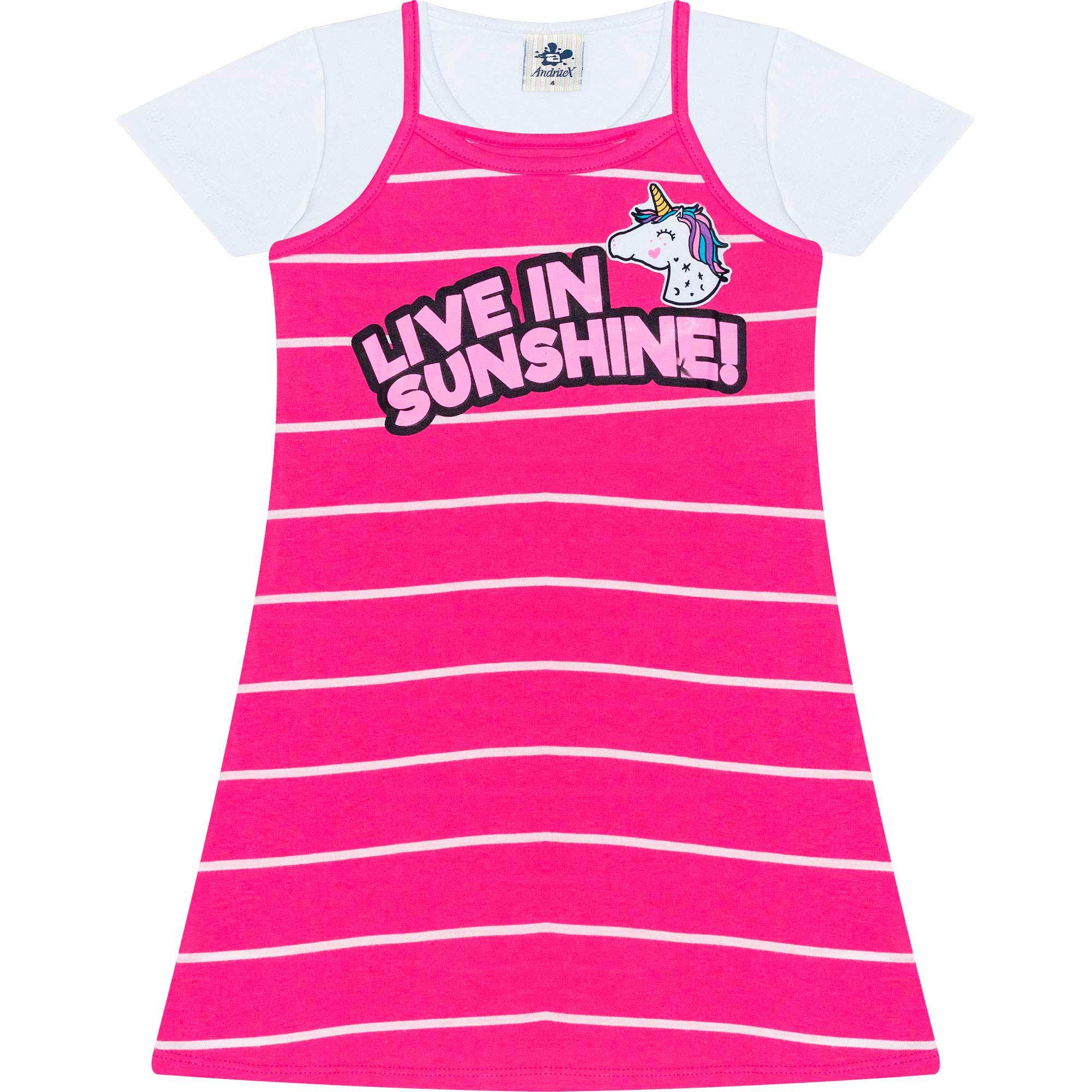 Vestido Infantil Feminino + Blusa - Ref 4888 - Rosa - Andritex