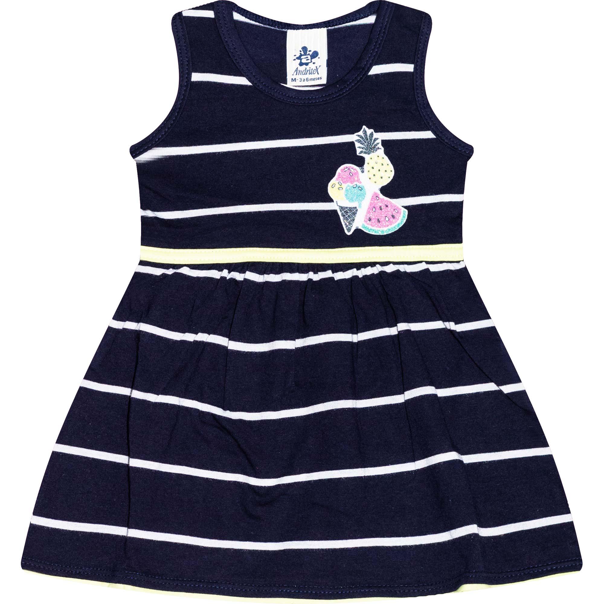 Vestido Infantil Feminino Listras - Ref 4808 - Azul - Andritex
