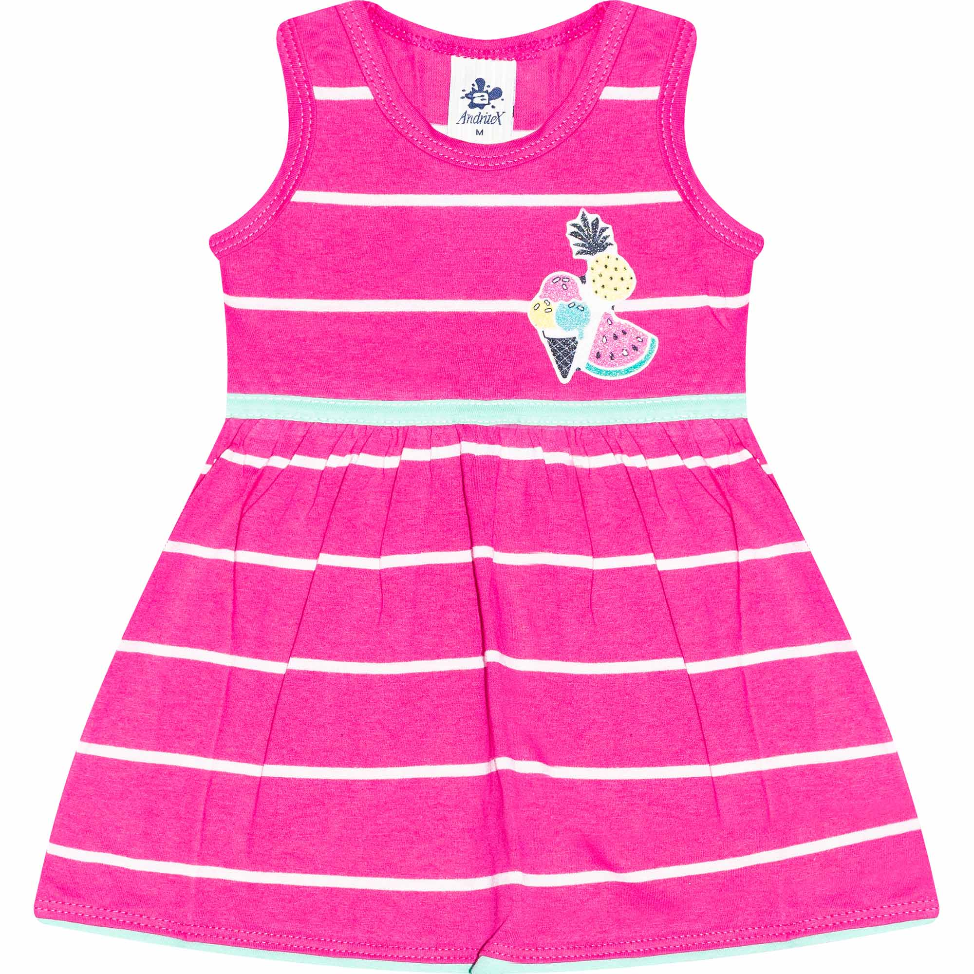 Vestido Infantil Feminino Listras - Ref 4808 - Rosa - Andritex