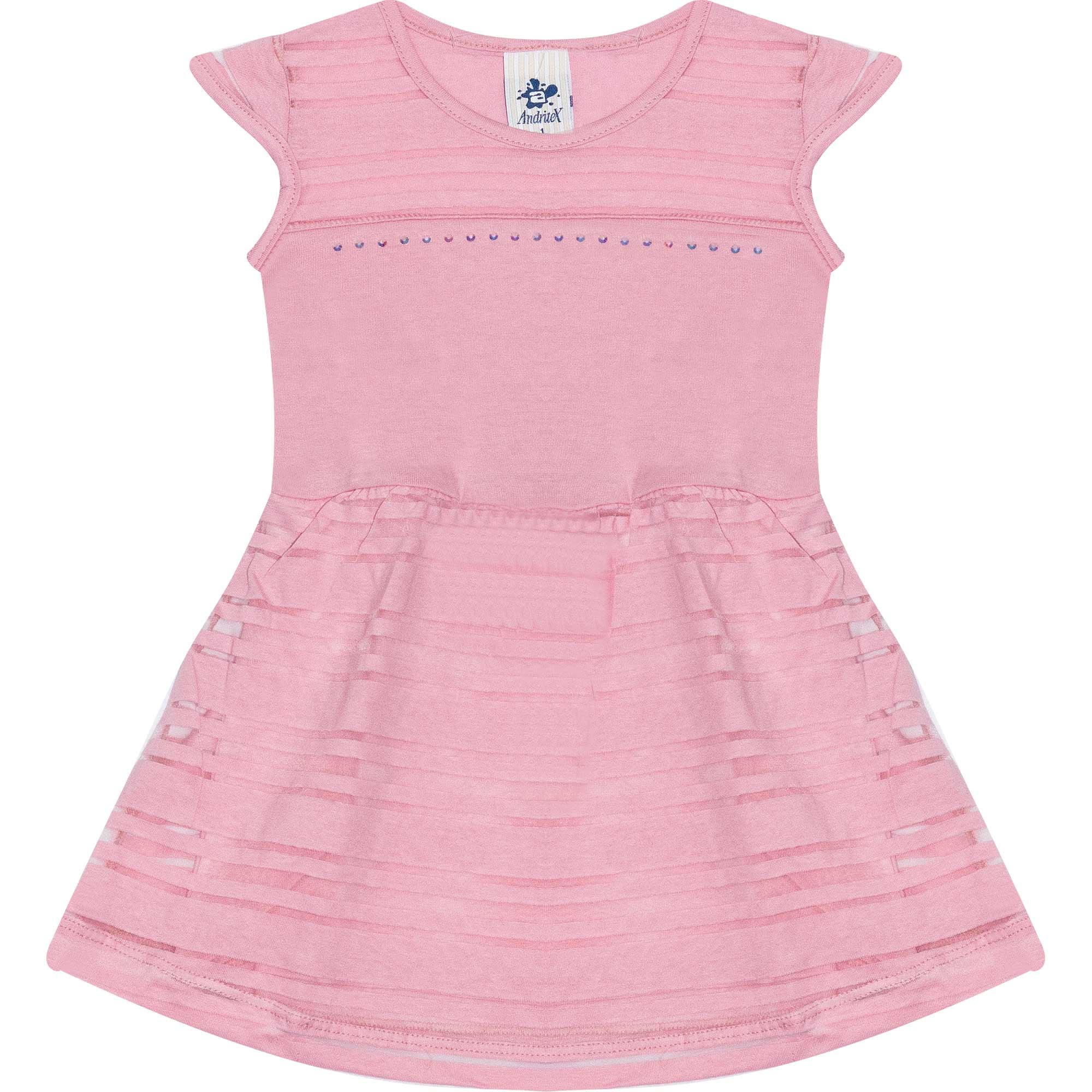 Vestido Infantil Feminino - Ref 4717  - Rosa - Andritex
