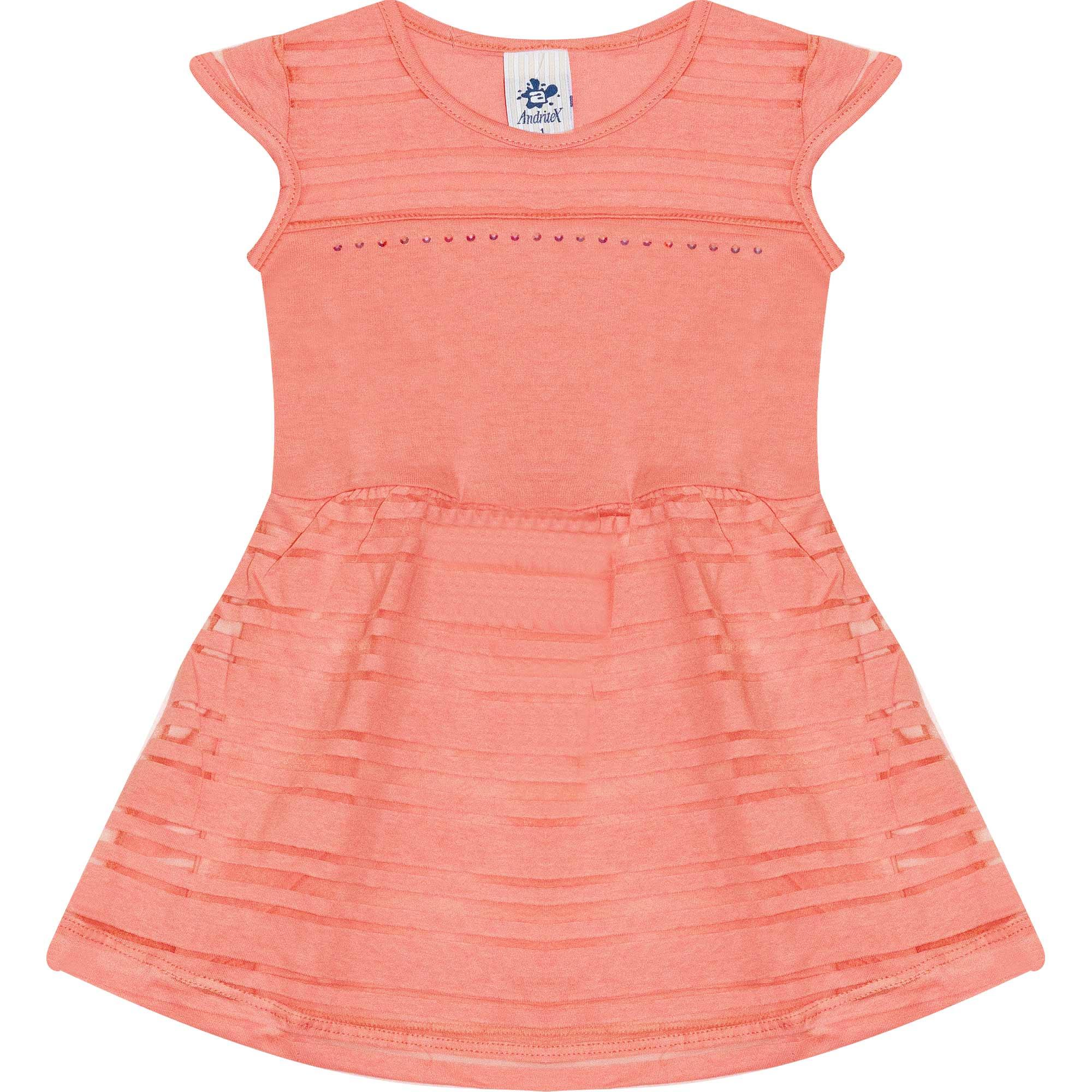 Vestido Infantil Feminino - Ref 4717  - Salmão - Andritex