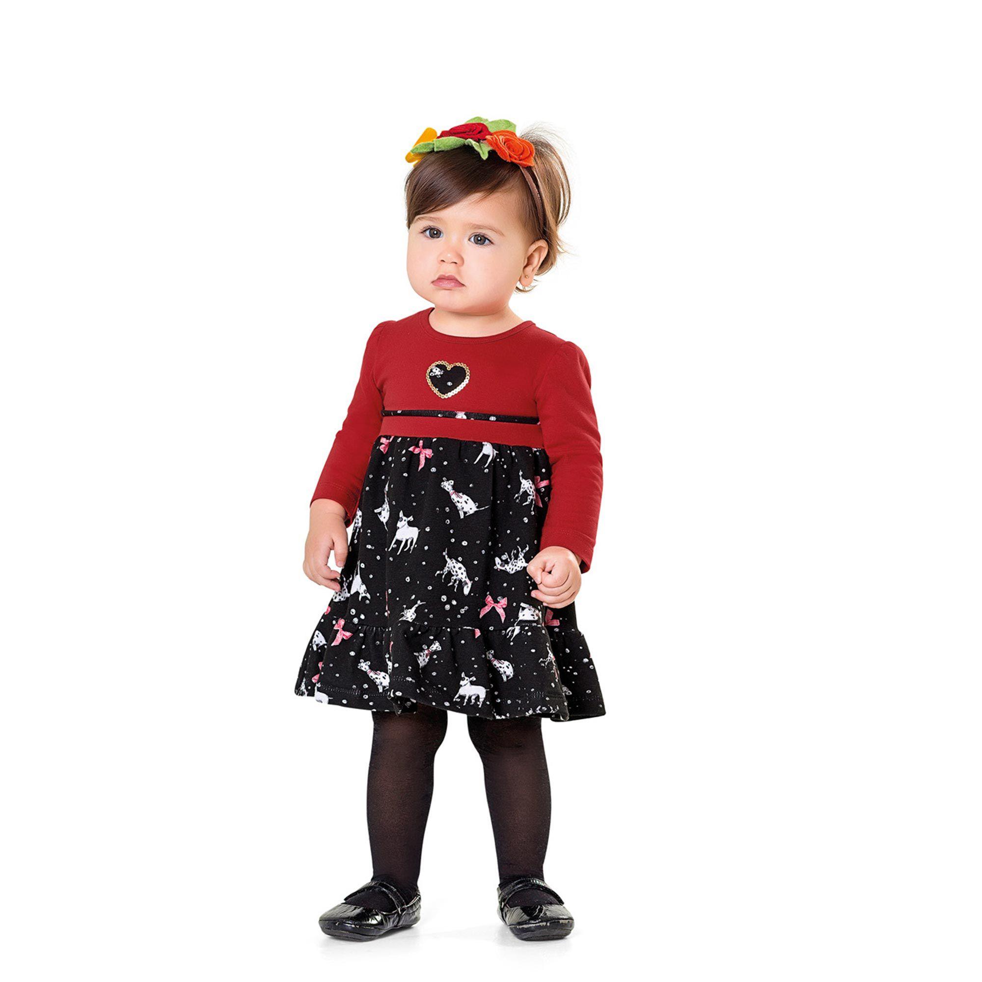Vestido Manga Longa Infantil Fakini - Vermelho
