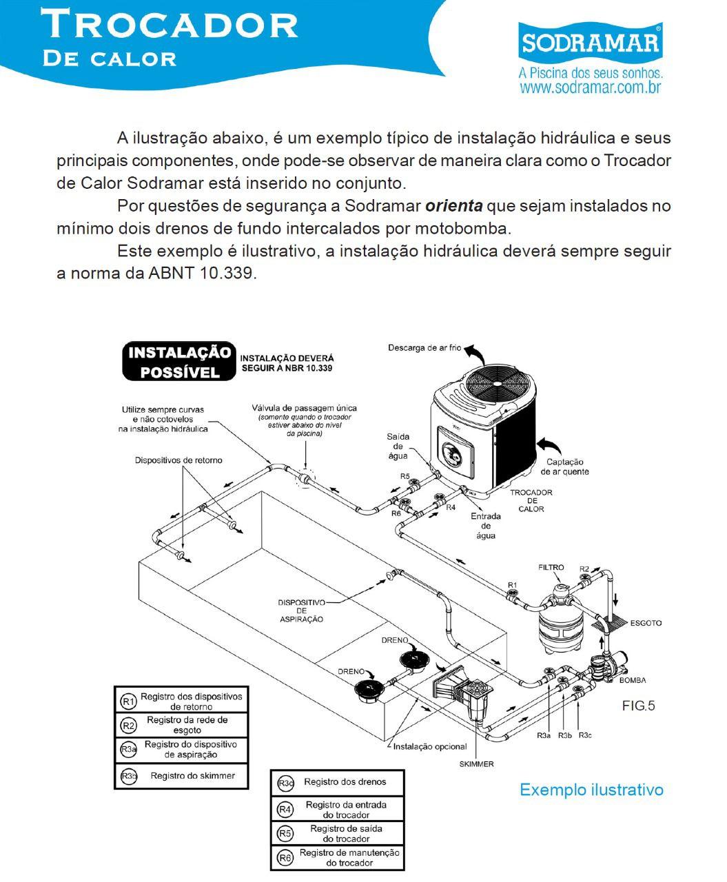 Aquecedor de piscina Yes - Trocador de Calor SD-80 Trif 220V