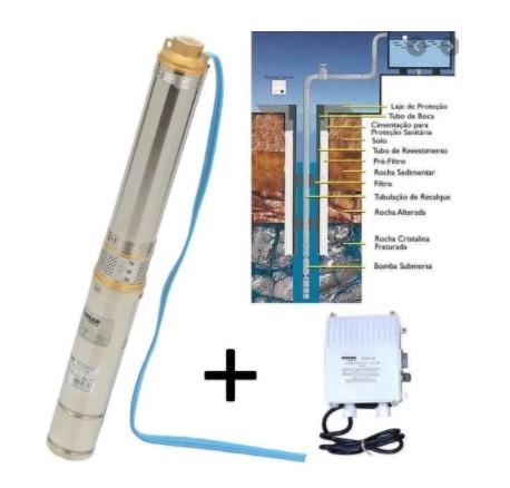 "Bomba submersa caneta poço 3"" somar bmsi-303-05 0,33CV 220V"