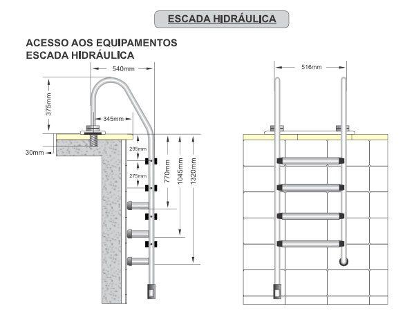 Escada Albacete Tradicional  Aço Inox 4 Degraus  Anatômicos em Inox