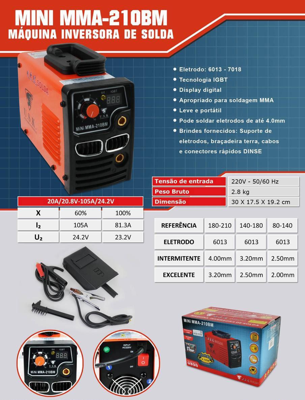 Maquina Solda Inversora Dysplay Digital Mini Mma 210BM 220 V Mini Usk