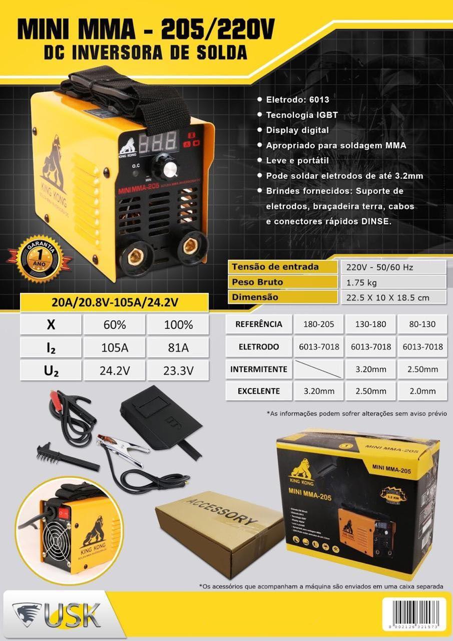 Mini Inversora de Solda Mma 205 220V Usk eletrodo até 3.2 mm