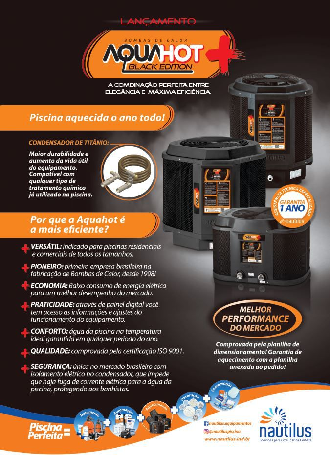 Trocador de calor Nautilus p/ piscina AA-25 Aquahot Black Edition 220V Mono