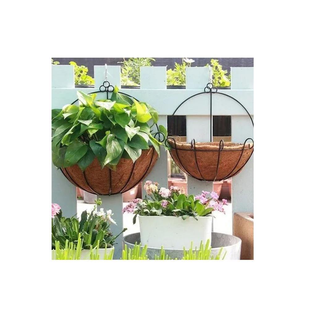 Vaso Fibra De Coco Com Suporte Meio Vaso Vertical 30cm
