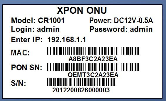 ONU XPON 1GE HIBRIDA CR1001