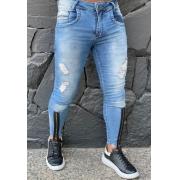 Calça Codi Jeans Skinny Azul Claro Detalhe Ziper na Perna